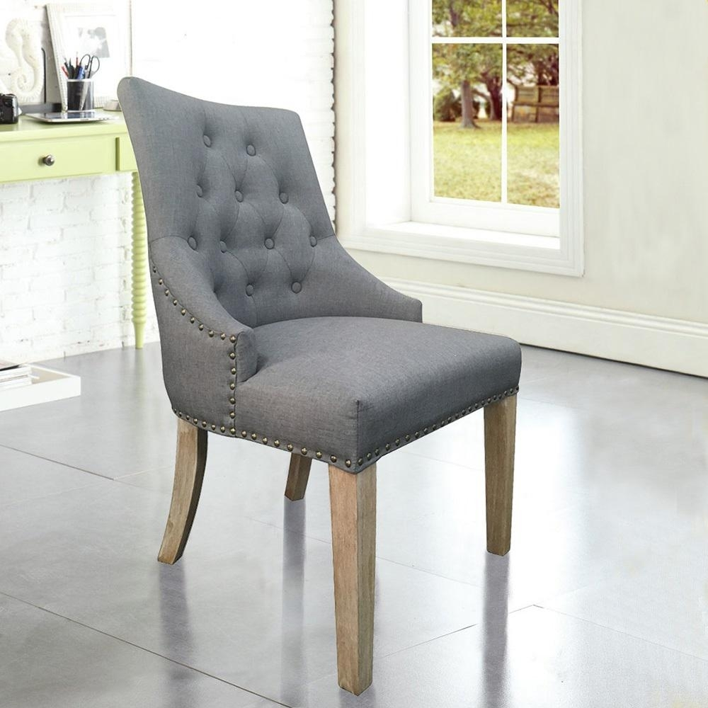 Popular Grey Dining Chairs Intended For Grey Linen Sexy Back Dining Chair With Copper Nails (Set Of 2) Dwc (#15 of 20)