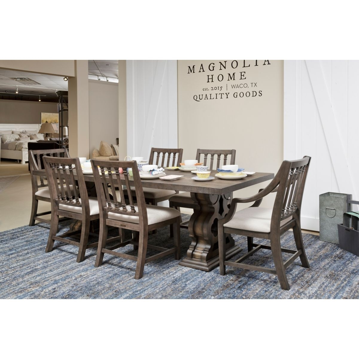 Inspiration about Popular Magnolia Home Reed Arm Chairs Intended For Another View From Our Showroom Of The Traditional Double Pedestal (#9 of 20)