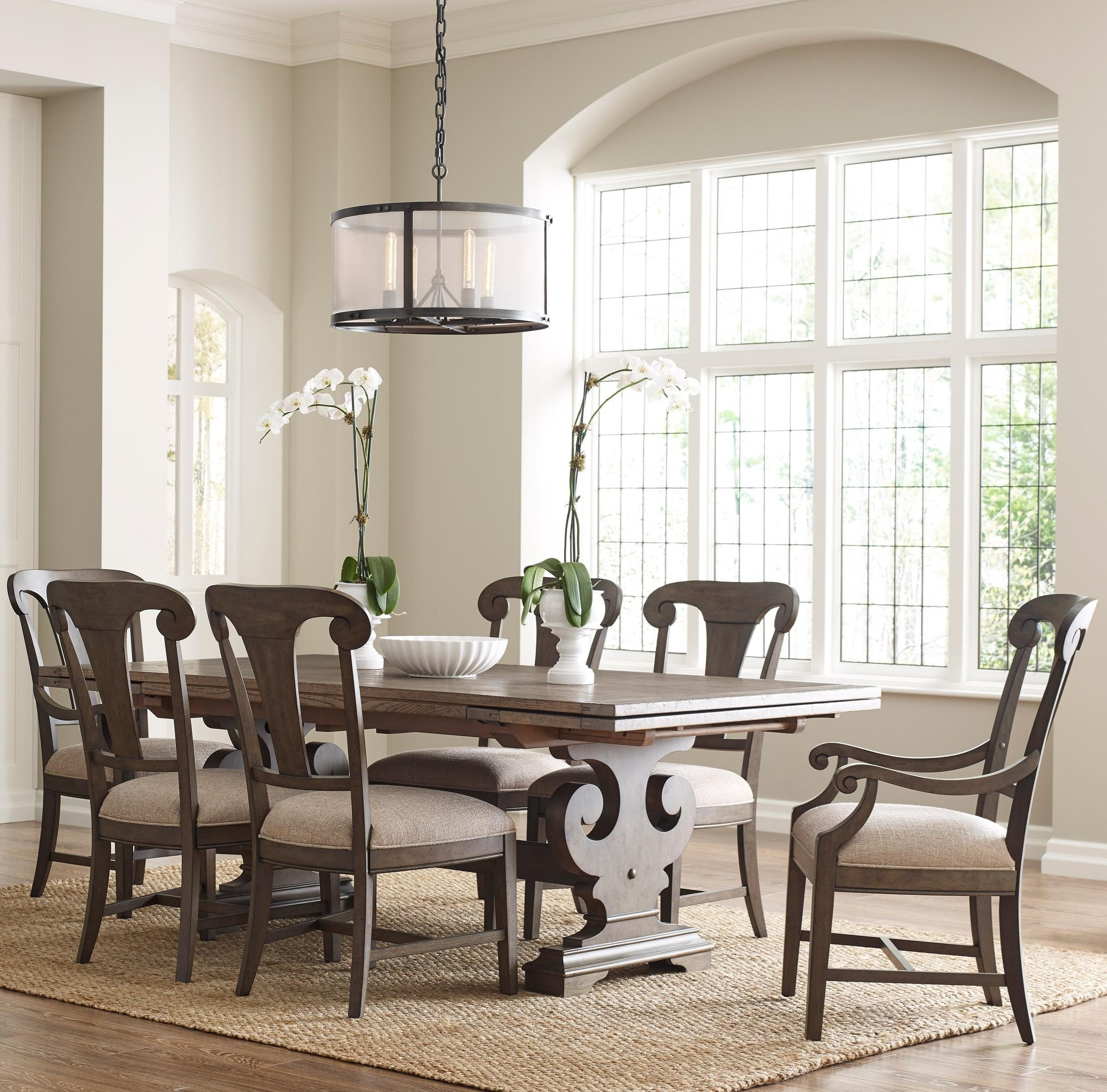 Popular Seven Piece Dining Set With Crawford Refectory Table And Fulton For Crawford Side Chairs (#16 of 20)