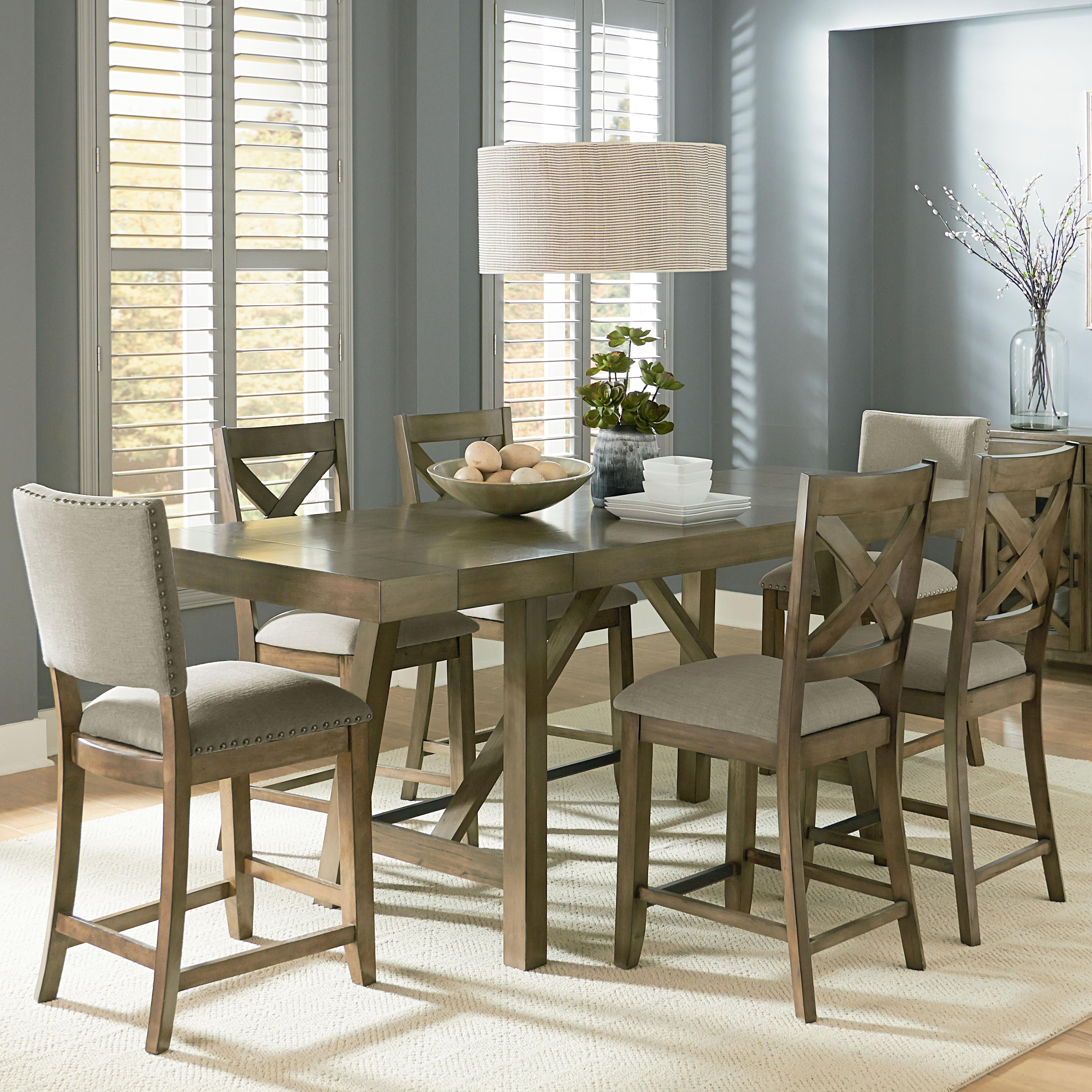 Popular Standard Furniture Omaha Grey Counter Height 7 Piece Dining Room Throughout Magnolia Home Hamilton Saddle Side Chairs (View 17 of 20)