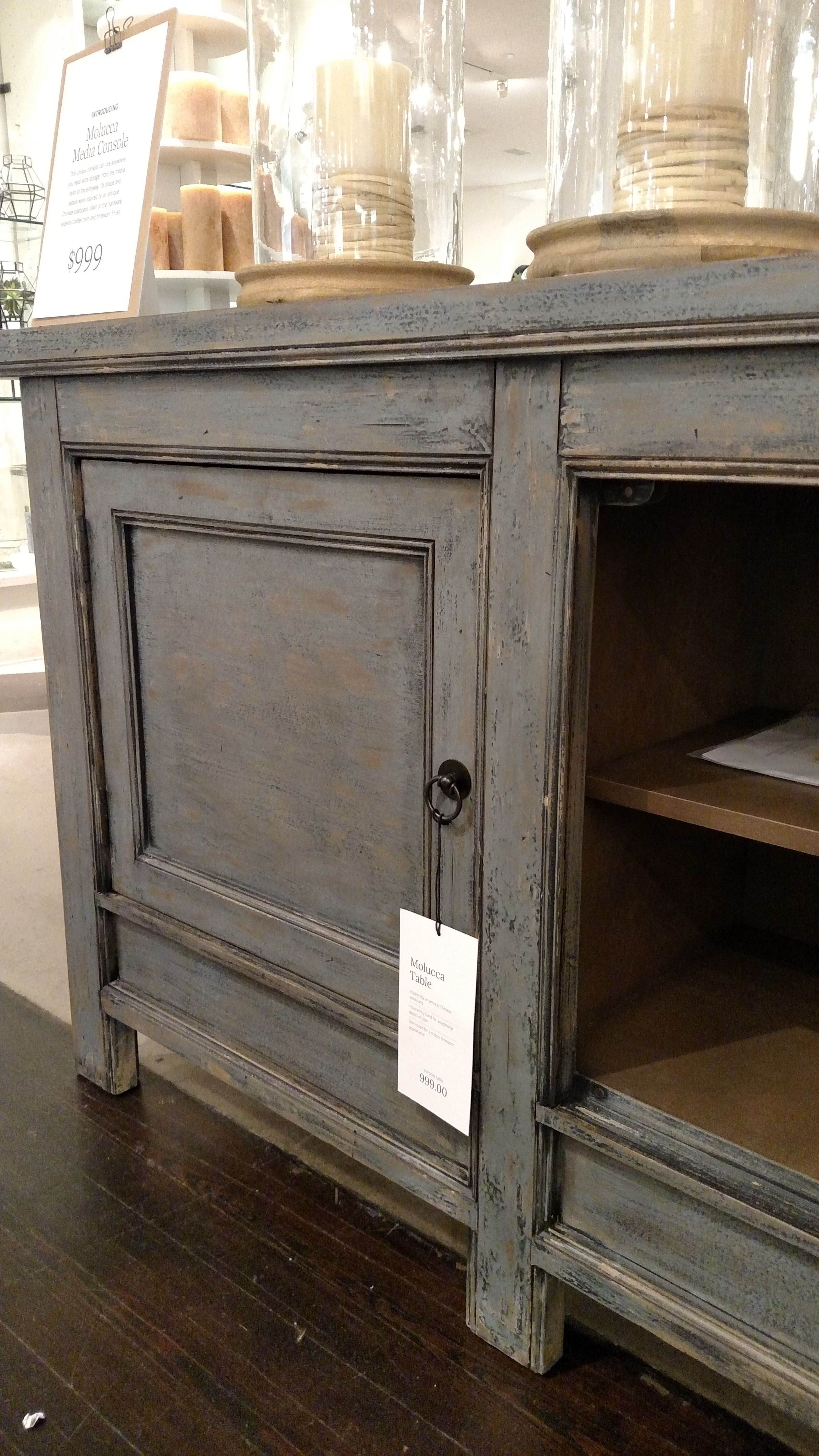 Inspiration about Pottery Barn Molucca Media Console Table Cabinet Buffet Sideboard Within Newest Blue Stone Light Rustic Black Sideboards (#20 of 20)