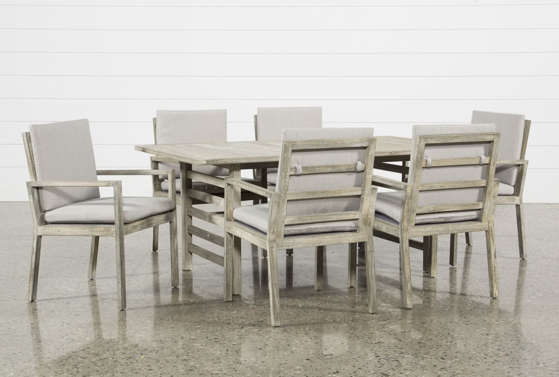 Inspiration about Preferred Amos Side Chairs For Outdoor Pompeii 7 Piece Dining Set, Grey (#19 of 20)