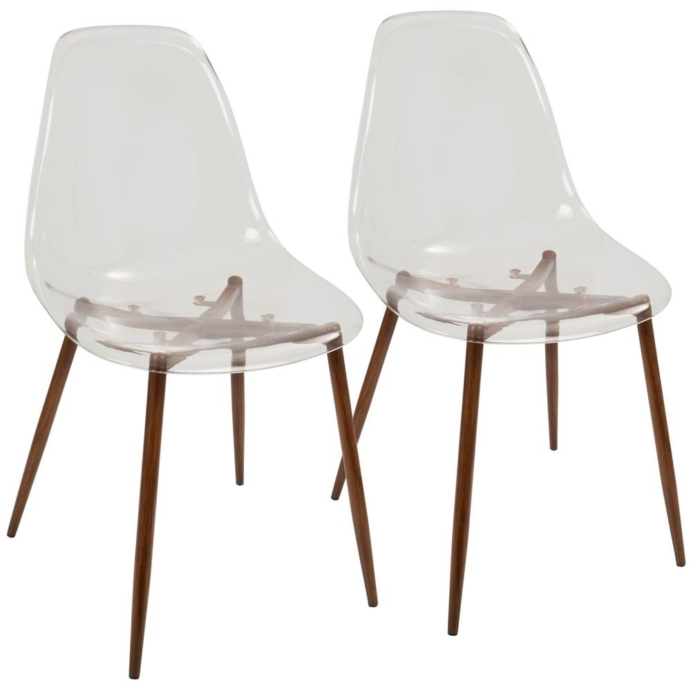 Preferred Burton Metal Side Chairs With Wooden Seat For Lumisource Clara Mid Century Clear Acrylic And Walnut Modern Dining (#16 of 20)