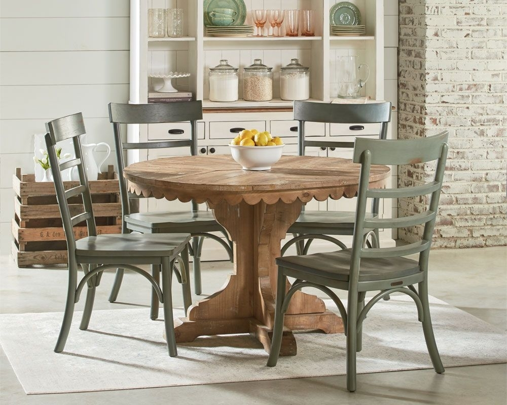 Inspiration about Preferred Magnolia Home Kempton Bench Side Chairs Inside Magnolia Home – Top Tier Pedestal Table Setting (#16 of 20)