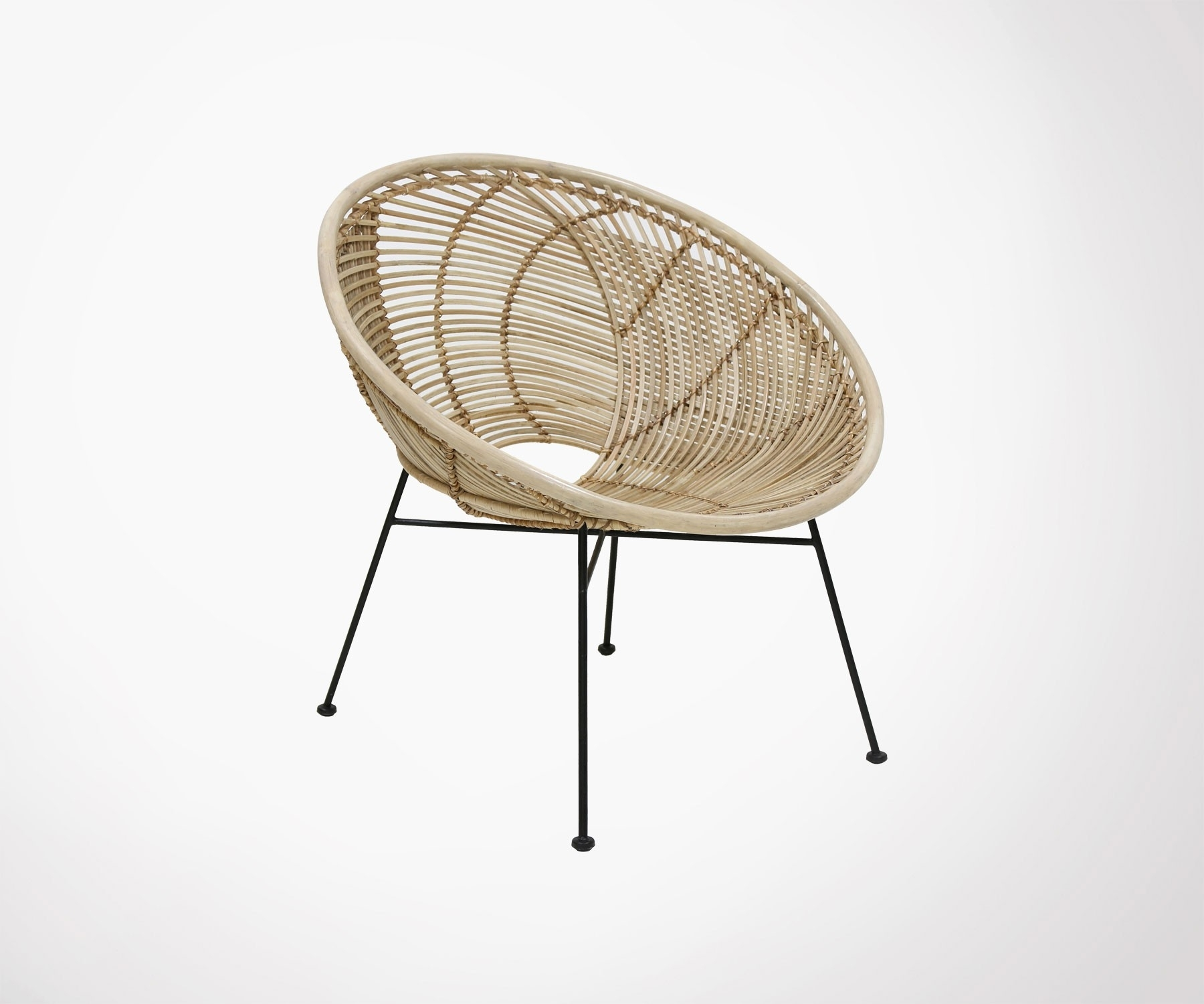 Preferred Natural Rattan Metal Chairs With Regard To Natural Rattan Lounge Chair Black Metal Balda – Hk Living – Meubles (View 7 of 20)
