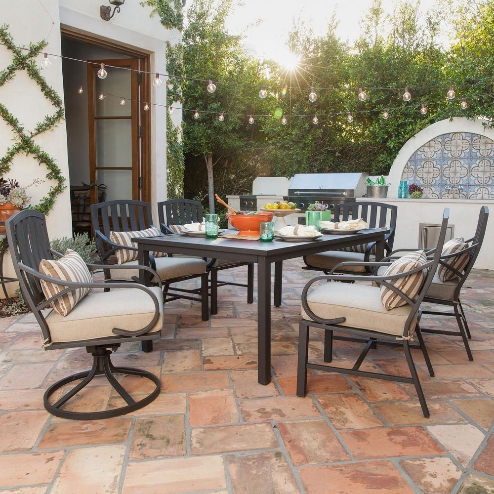 Preferred Royal Garden Norman 7 Piece Outdoor Dining Set With Beige Cushions Regarding Garten Storm Chairs With Espresso Finish Set Of  (#15 of 20)