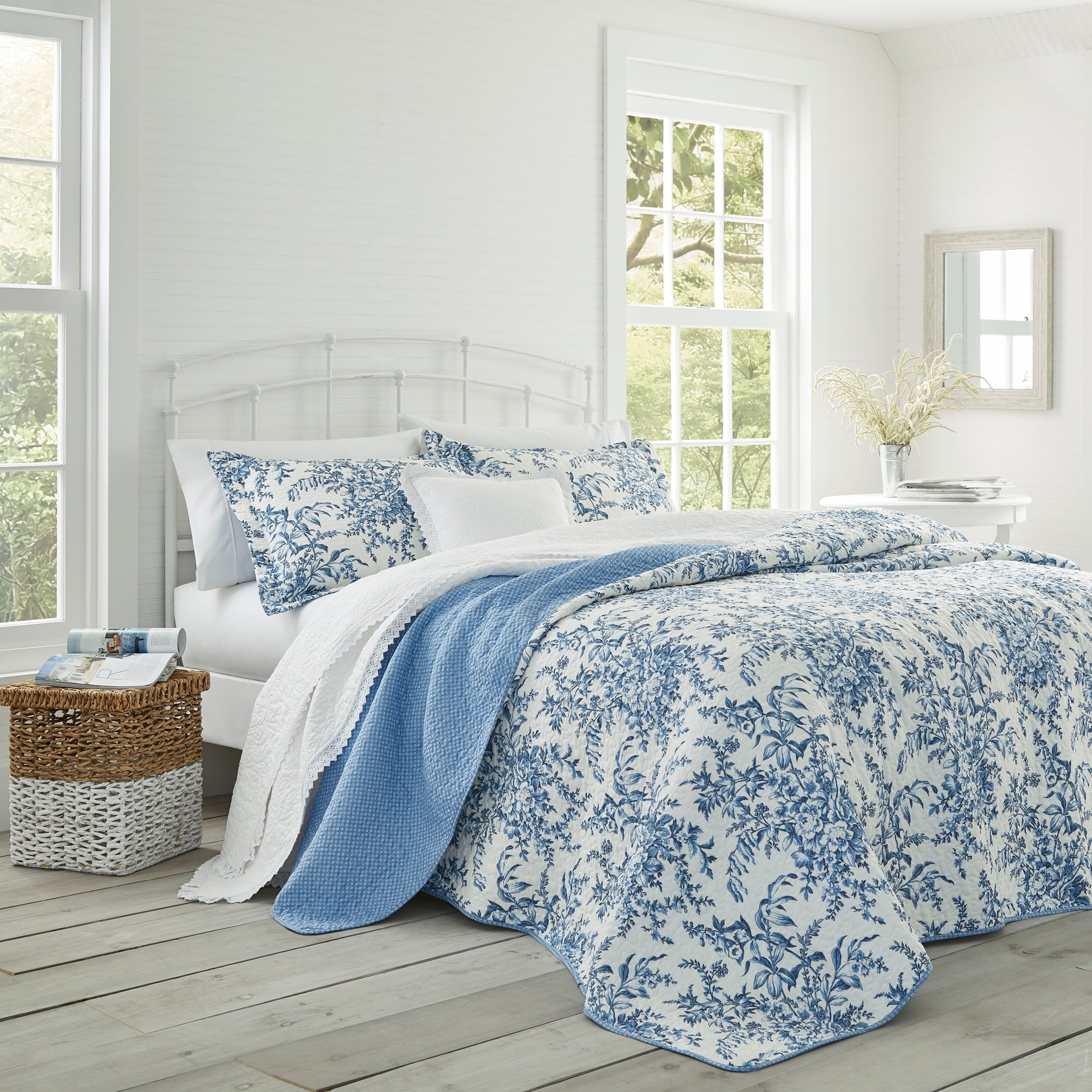 Preferred Shop Laura Ashley 3 Piece Bedford Blue Reversible Quilt Set – On Inside Garten Delft Skirted Side Chairs Set Of  (#18 of 20)