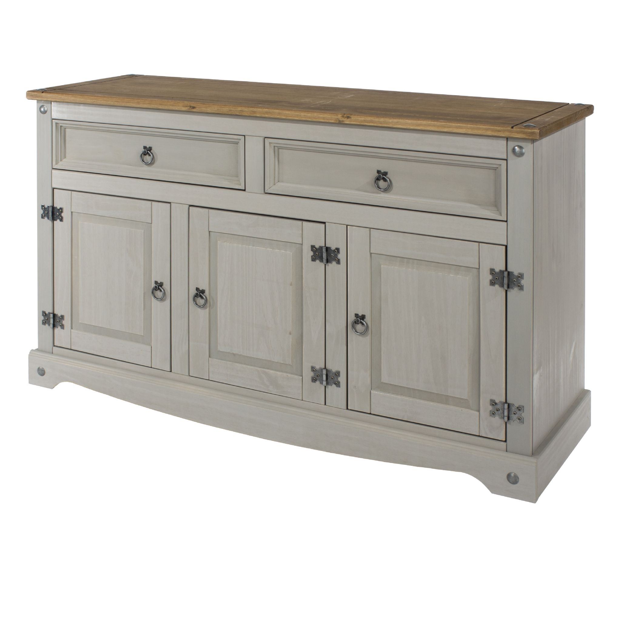 Inspiration about Premium Corona Grey Wash Medium Sideboard With Solid Natural Pine Top Inside Newest Natural South Pine Sideboards (#7 of 20)