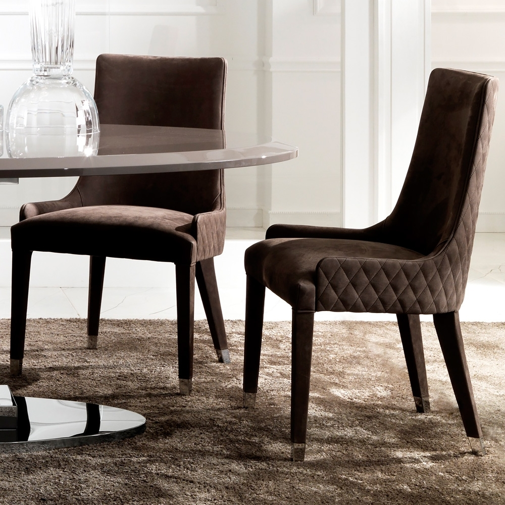 Inspiration about Quilted Black Dining Chairs In Trendy Quilted Nubuck Leather Italian Dining Chair (#1 of 20)