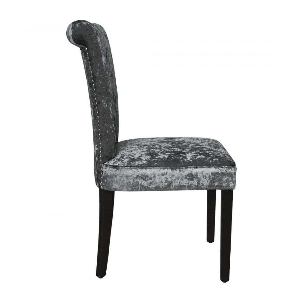 Recent Dark Olive Velvet Iron Dining Chairs Throughout Bolero Crushed Velvet Dining Chair (olive Grey) (pack 2) – Furniture (View 20 of 20)