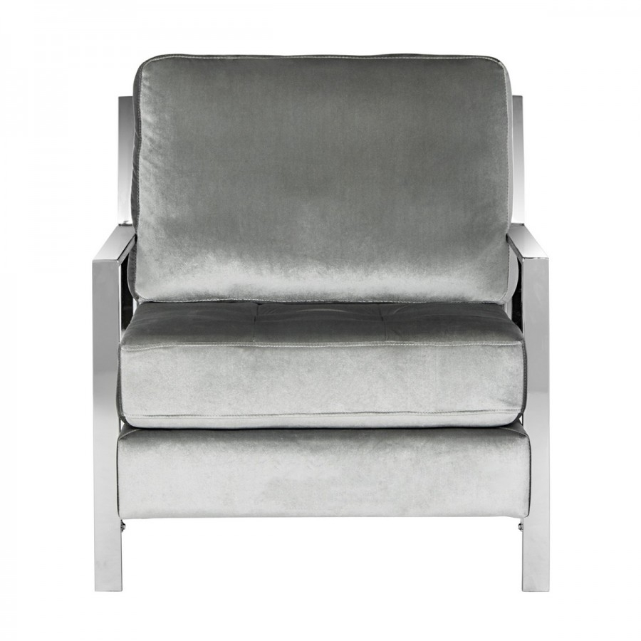 Recent Decor Market – Walden Modern Tufted Velvet Chrome Accent Chair Regarding Walden Upholstered Arm Chairs (#10 of 20)