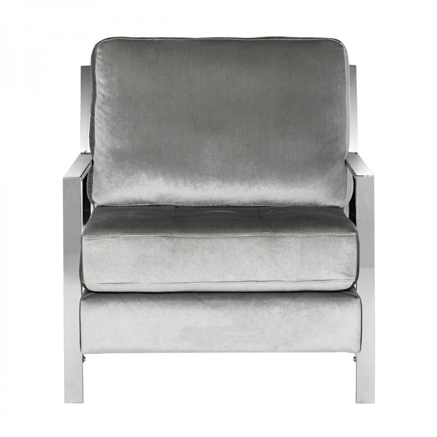 Recent Decor Market – Walden Modern Tufted Velvet Chrome Accent Chair Regarding Walden Upholstered Arm Chairs (View 16 of 20)