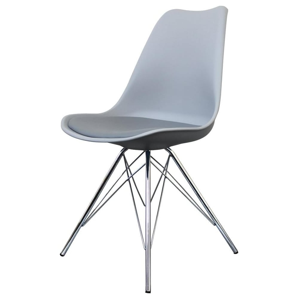 Recent Grey Dining Chairs Regarding Buy Eiffel Inspired Light Grey Dining Chair With Chrome Metal Legs (#16 of 20)