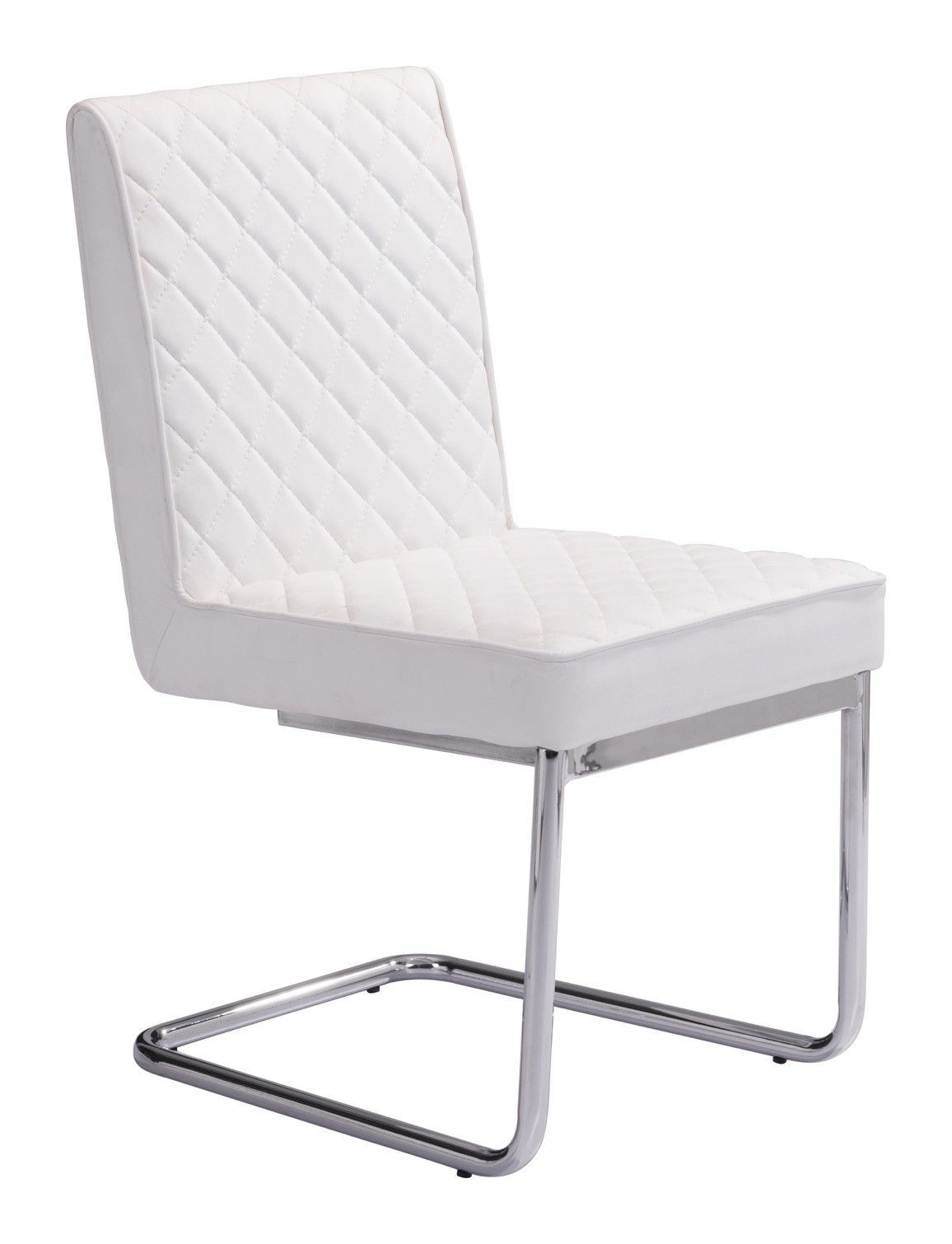 Recent Quilt Armless Dining Chair In Quilted White Leatherette With Chrome Regarding Quilted Black Dining Chairs (#15 of 20)