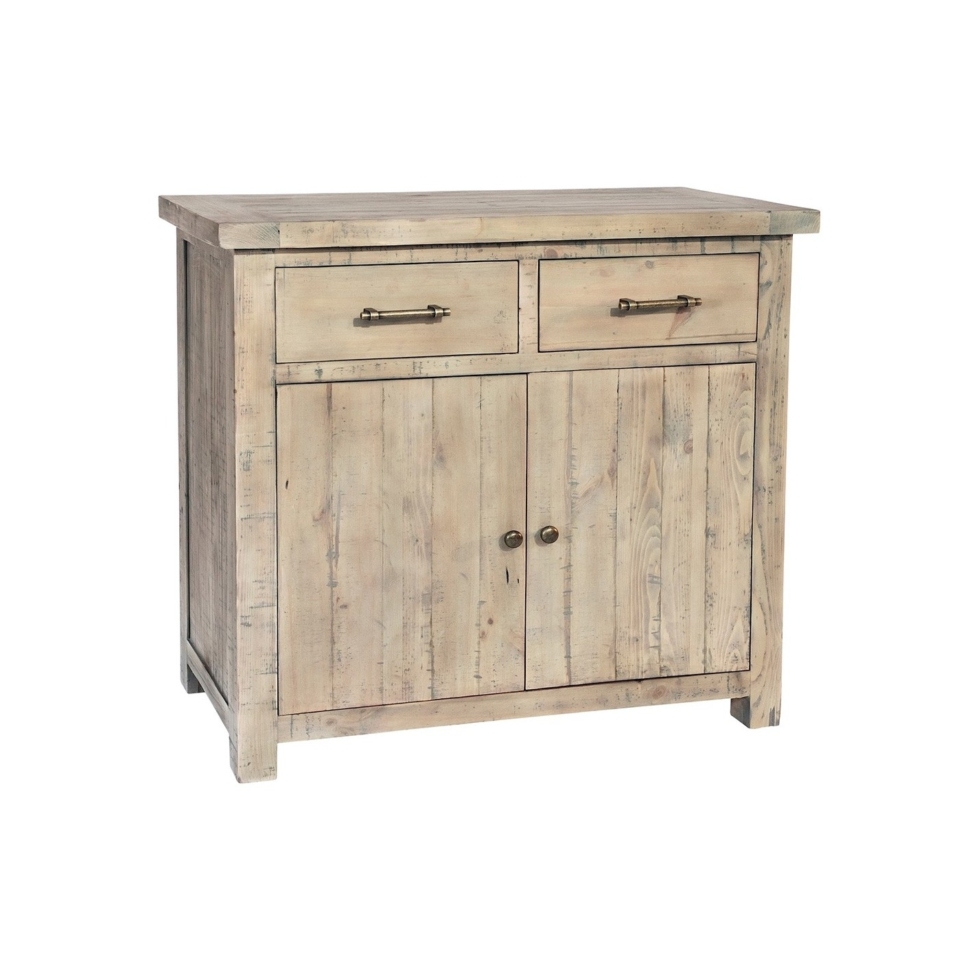 Reclaimed Driftwood Compact 2 Drawer Sideboard | Millbrook For Latest 2 Drawer Sideboards (#12 of 20)