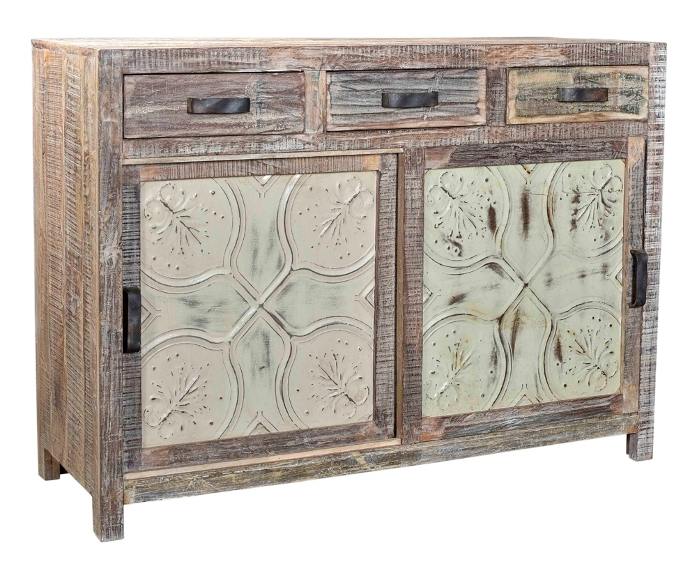 Inspiration about Reclaimed Indian Wood Sideboard With Embossed Metal Panel Doors In Best And Newest Reclaimed Sideboards With Metal Panel (#1 of 20)