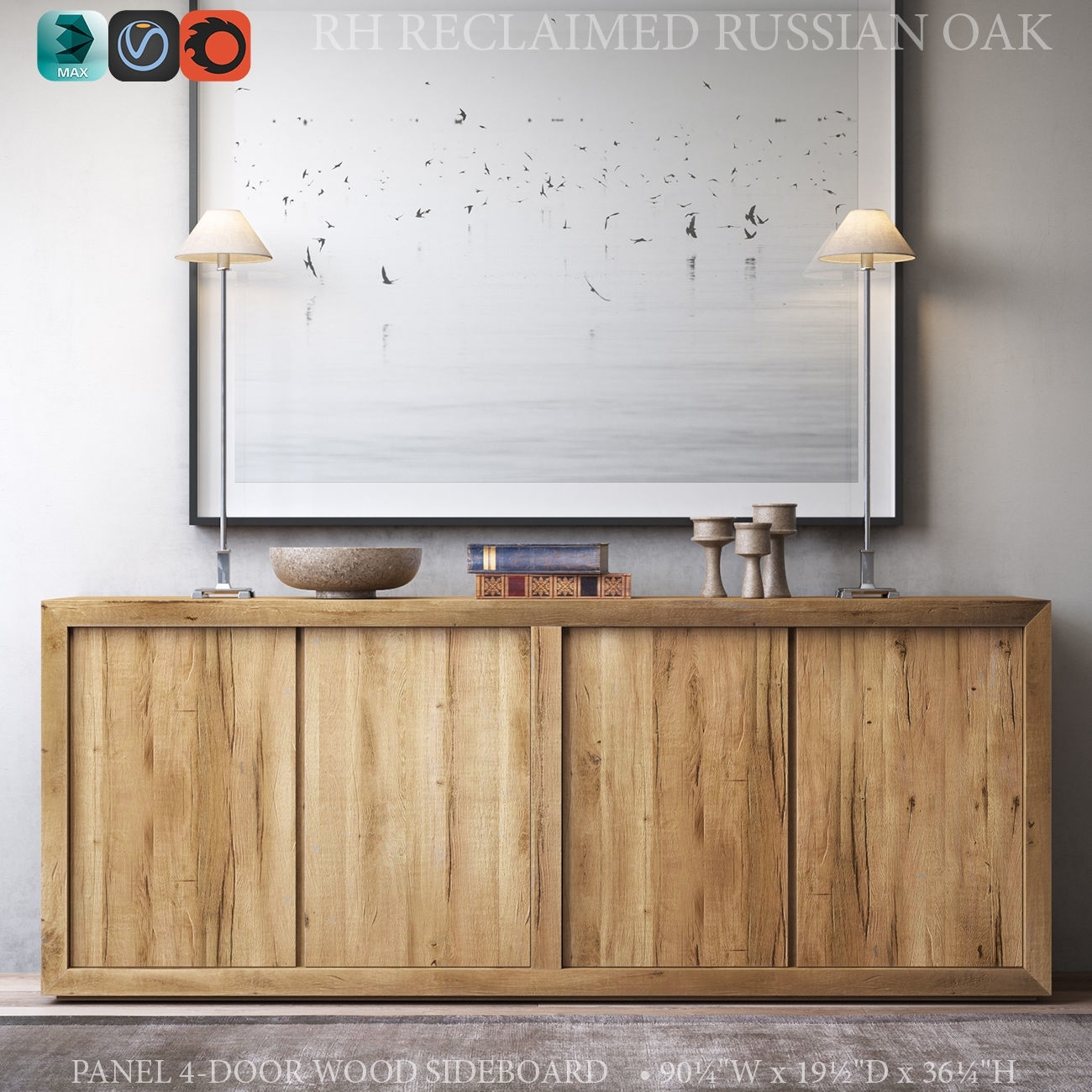 Inspiration about Reclaimed Russian Oak Panel 4 Door Wood Sideboard 3D Model Max Obj With Most Current Reclaimed Sideboards With Metal Panel (#12 of 20)