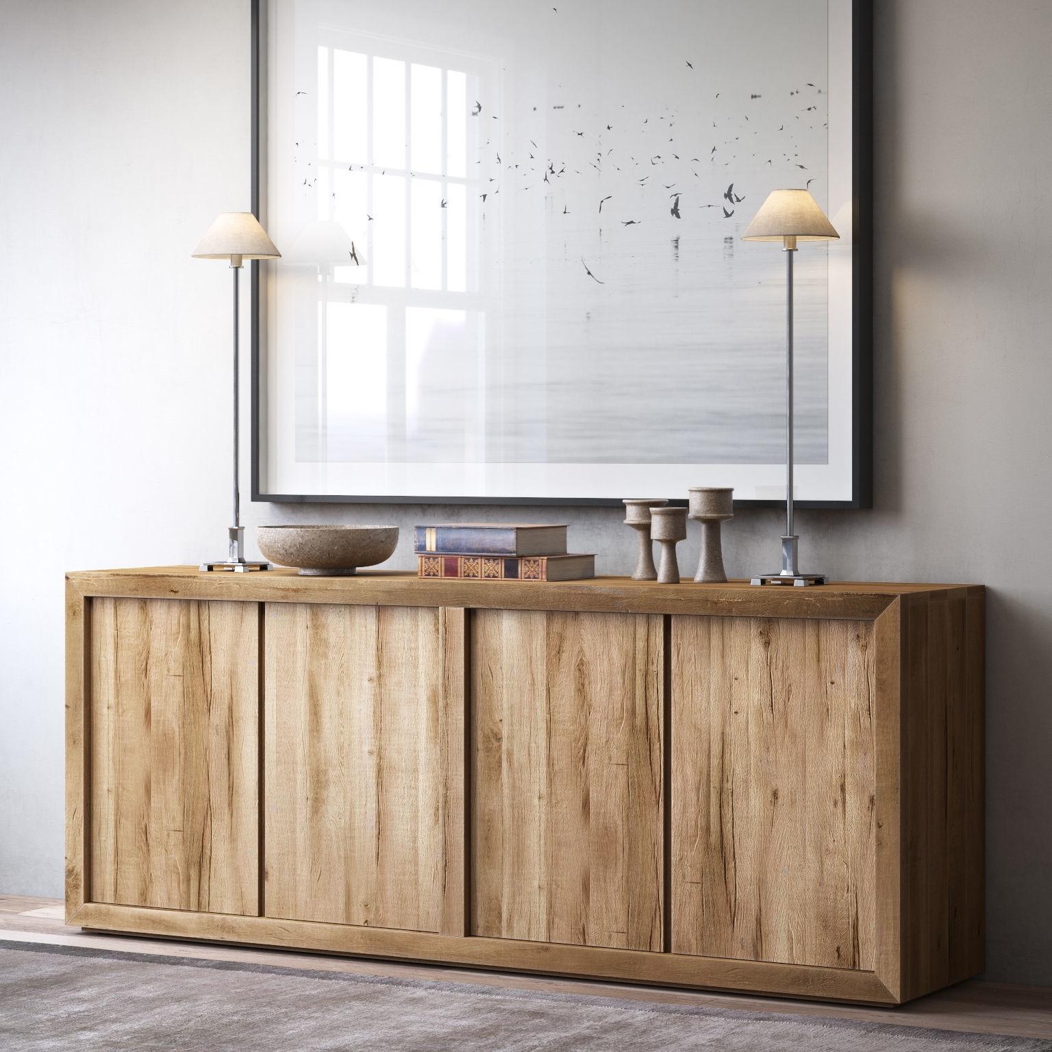 Reclaimed Russian Oak Panel 4 Door Wood Sideboard 3D Model Max Obj Within 2017 Reclaimed Sideboards With Metal Panel (#9 of 20)