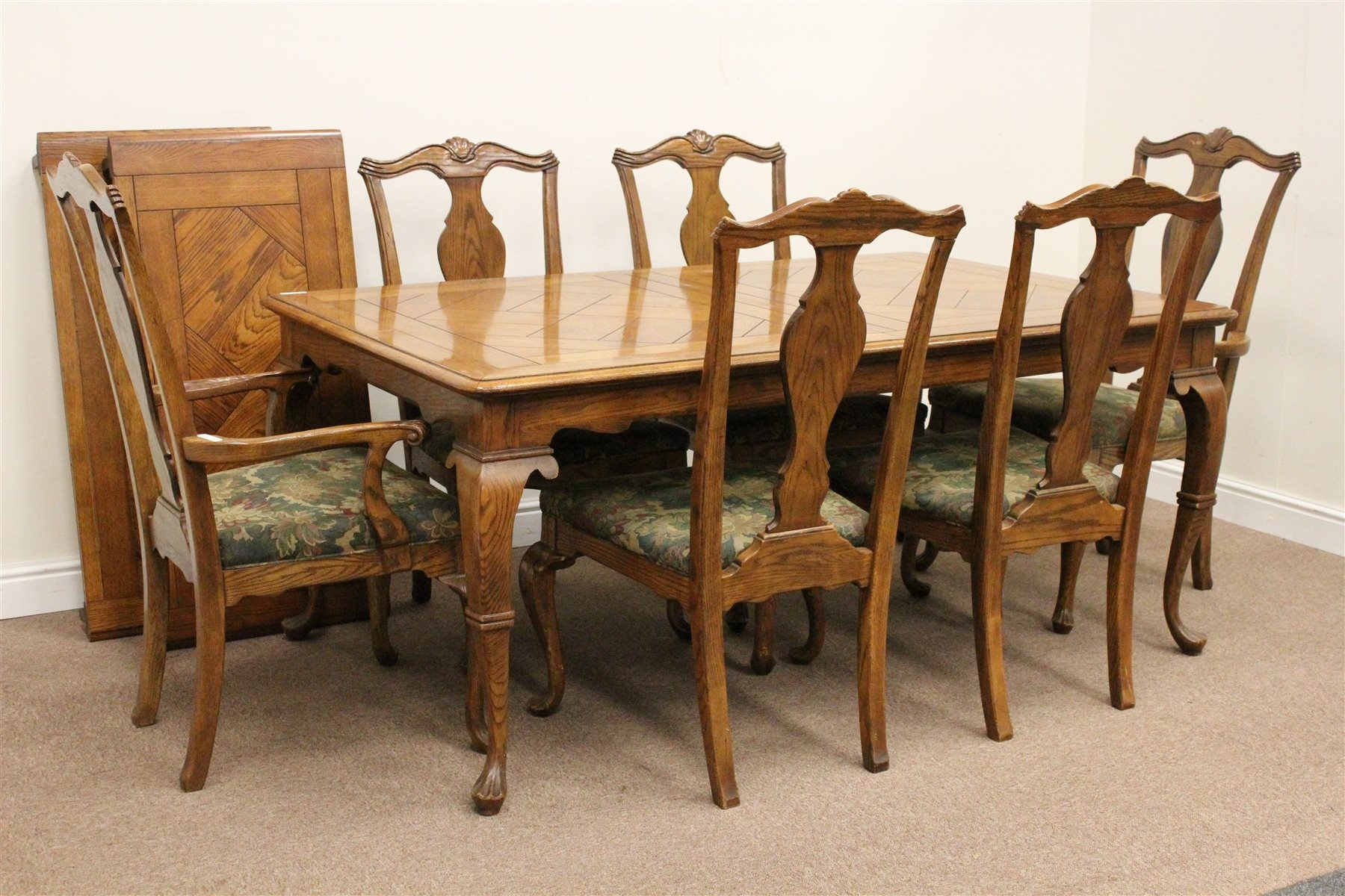 Rectangular Oak Parquet Extending Dining Table With Two Leaves And For Current Parquet Dining Chairs (View 18 of 20)