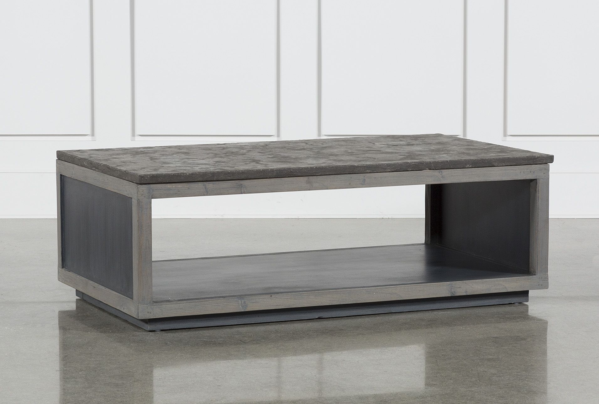 Inspiration about Recycled Pine Stone Coffee Table, Brown | Stone Coffee Table And Regarding Latest Charcoal Finish 4 Door Jumbo Sideboards (#16 of 20)