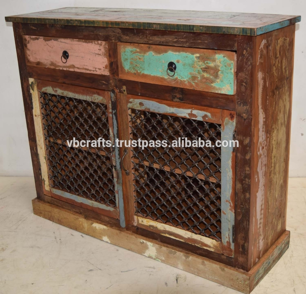 Inspiration about Recycled Scrap Color Wood Iron Jali Panel Sideboard – Buy Reclaimed Within Most Current Corrugated Metal Sideboards (#3 of 20)
