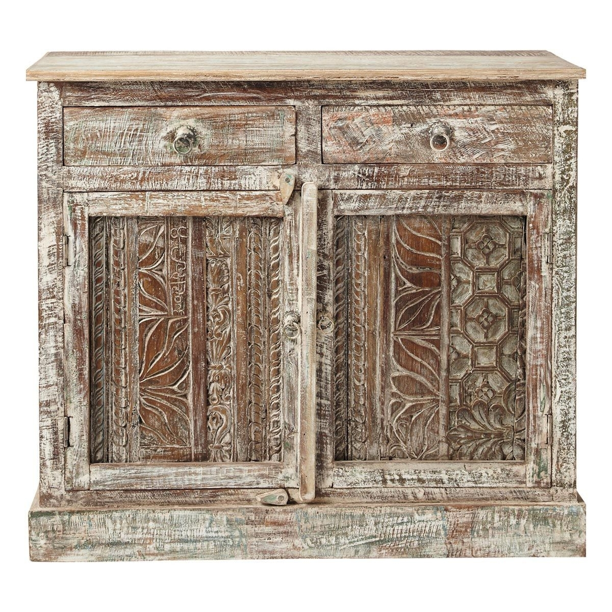 Recycled Wood Carved Indian Sideboard W 95cm Karma | Maisons Du Inside Most Recently Released Helms Sideboards (View 15 of 20)