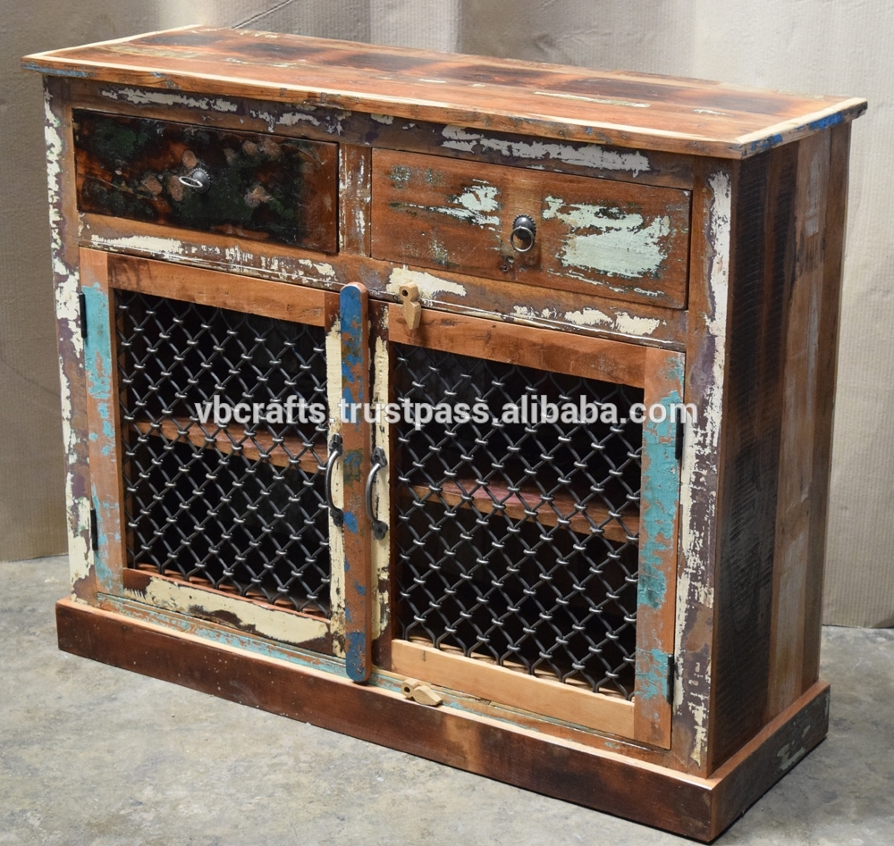 Inspiration about Recycled Wooden Sideboard Iron Jali Panel – Buy Ethnic Indian With Latest Reclaimed Sideboards With Metal Panel (#10 of 20)