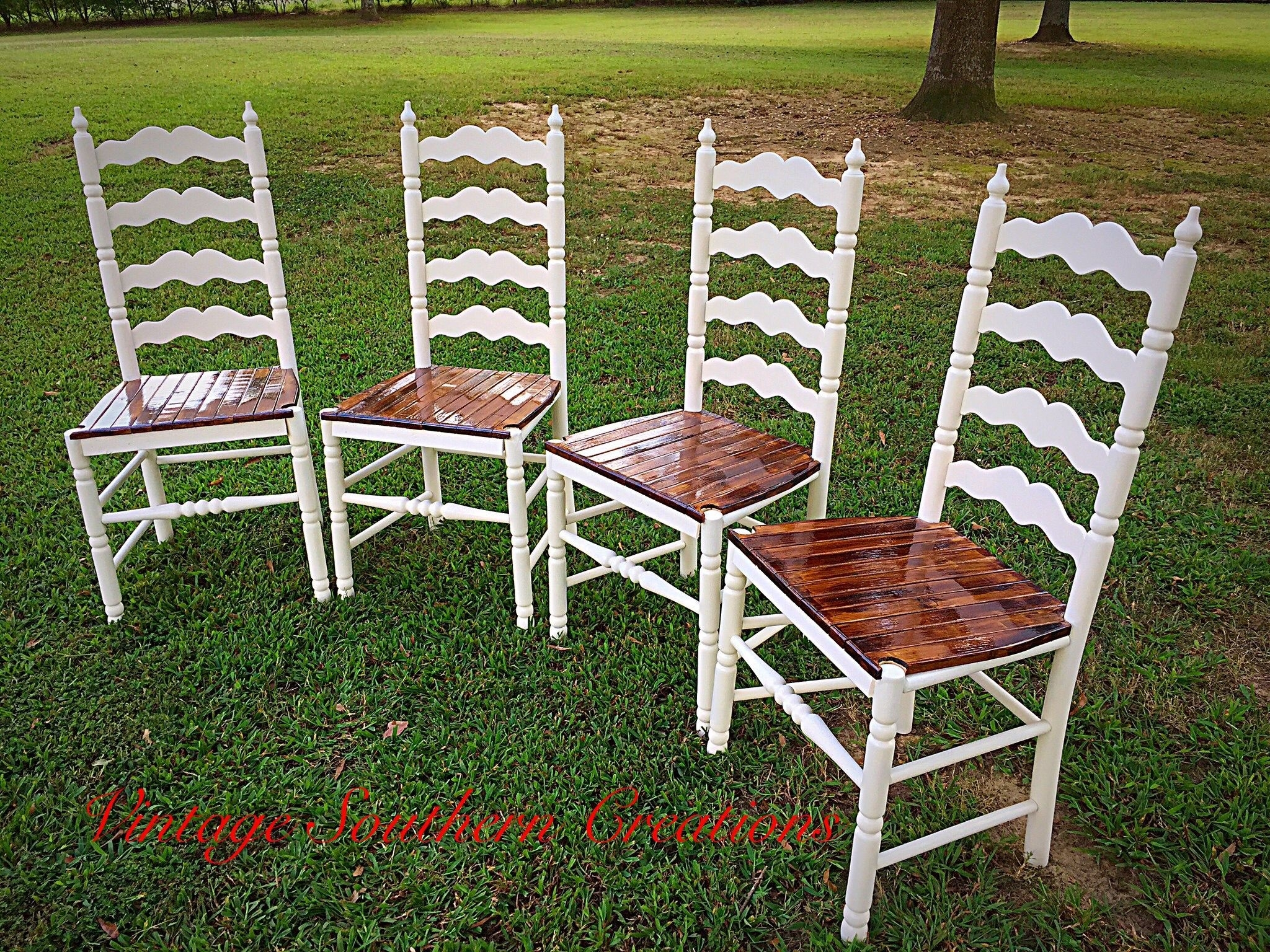 Inspiration about Repurposed Ladder Back Chairsvintage Southern Creations Throughout Favorite Candice Ii Slat Back Host Chairs (#19 of 20)