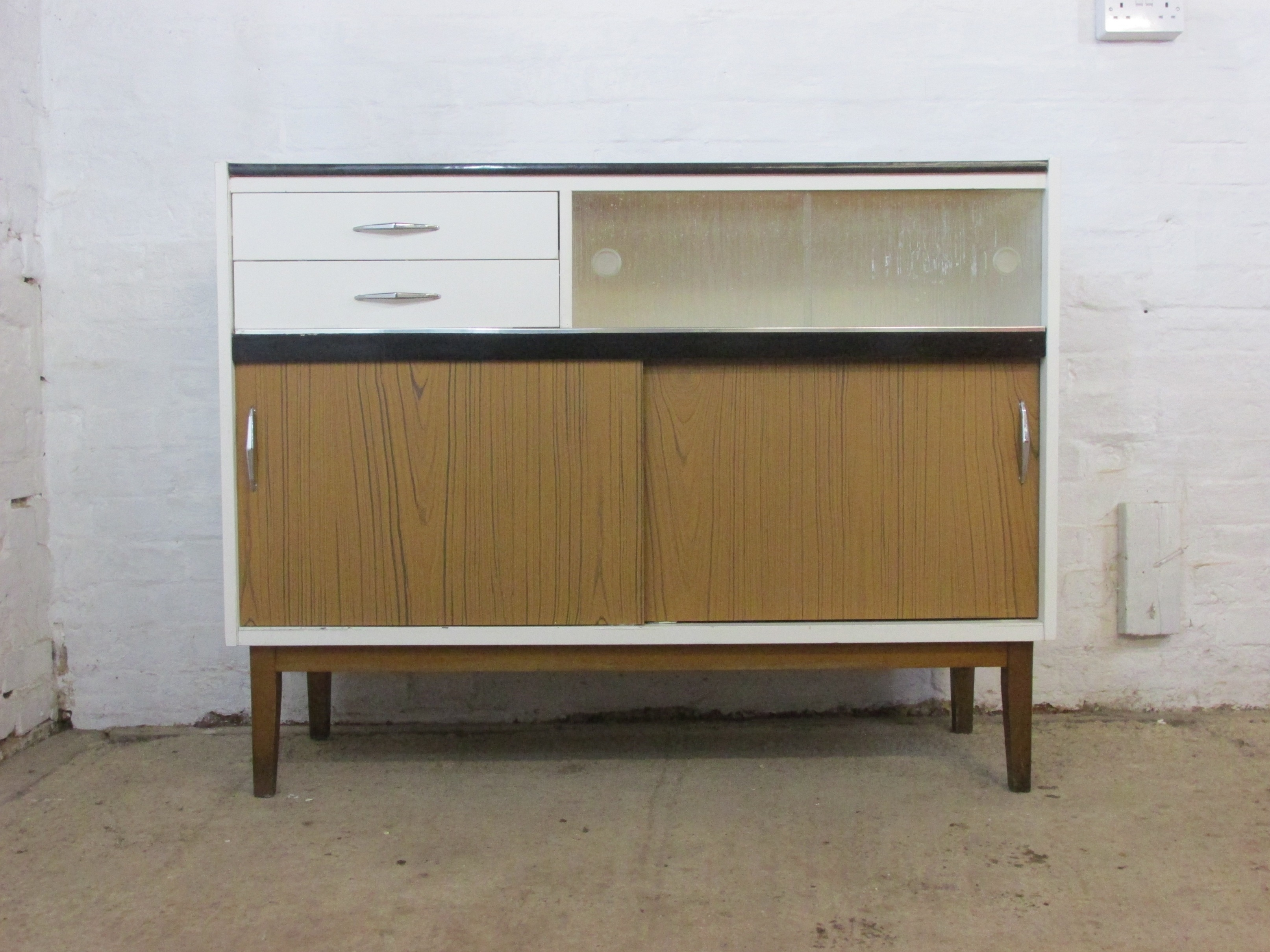 Retro Fortress Wood, Glass And Laminate Small Sideboard Or Kitchen Pertaining To Most Recent Vintage 8 Glass Sideboards (View 17 of 20)
