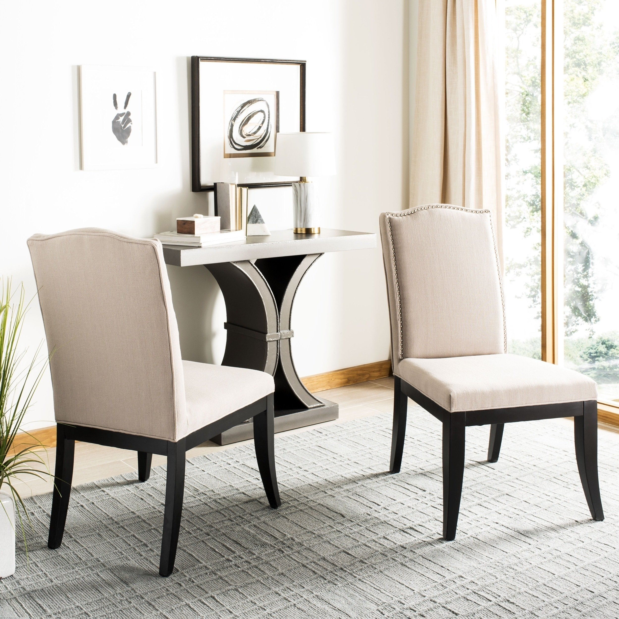 Safavieh En Vogue Dining Laurent Taupe Nailhead Dining Chairs (Set With Regard To Preferred Laurent Upholstered Side Chairs (#17 of 20)