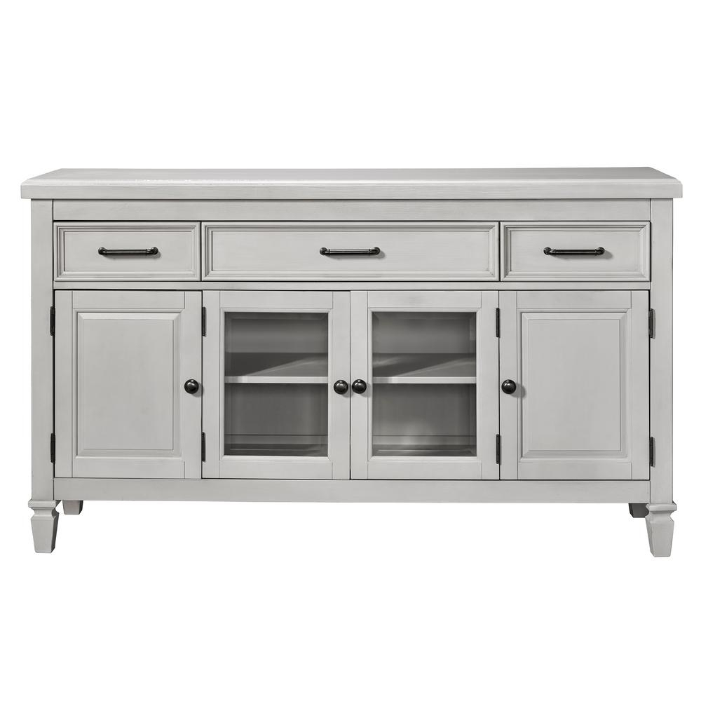 Samuel Lawrence Ashwell White Sideboard A351 146 – The Home Depot For 2017 Satin Black & Painted White Sideboards (View 19 of 20)