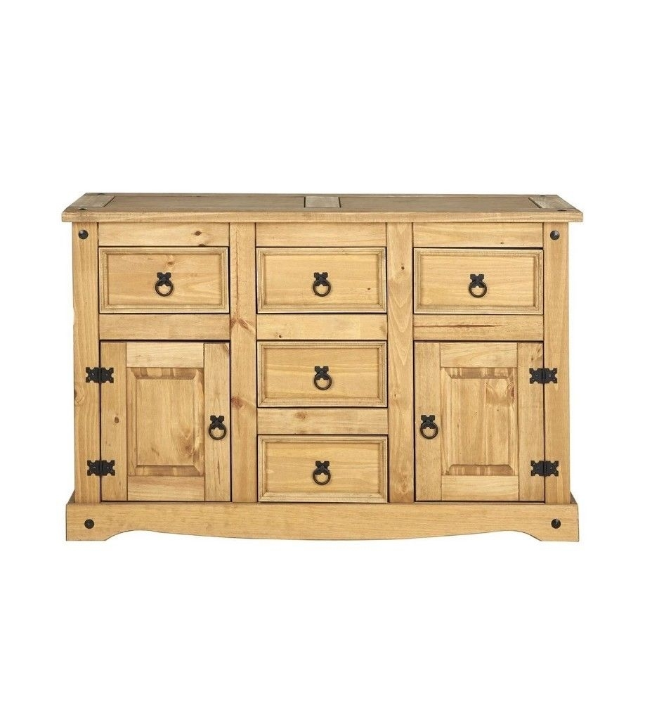 Santana 2 Door 5 Drawer Sideboard Storage Cabinet, Wood, Antique Throughout Most Recently Released Aged Pine 3 Drawer 2 Door Sideboards (#16 of 20)