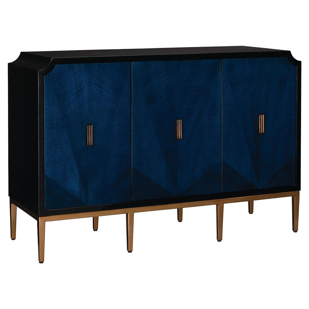 Sapir Modern Classic Blue Gold Black 3 Door Sideboard Cabinet Throughout Current 4 Door Wood Squares Sideboards (#18 of 20)
