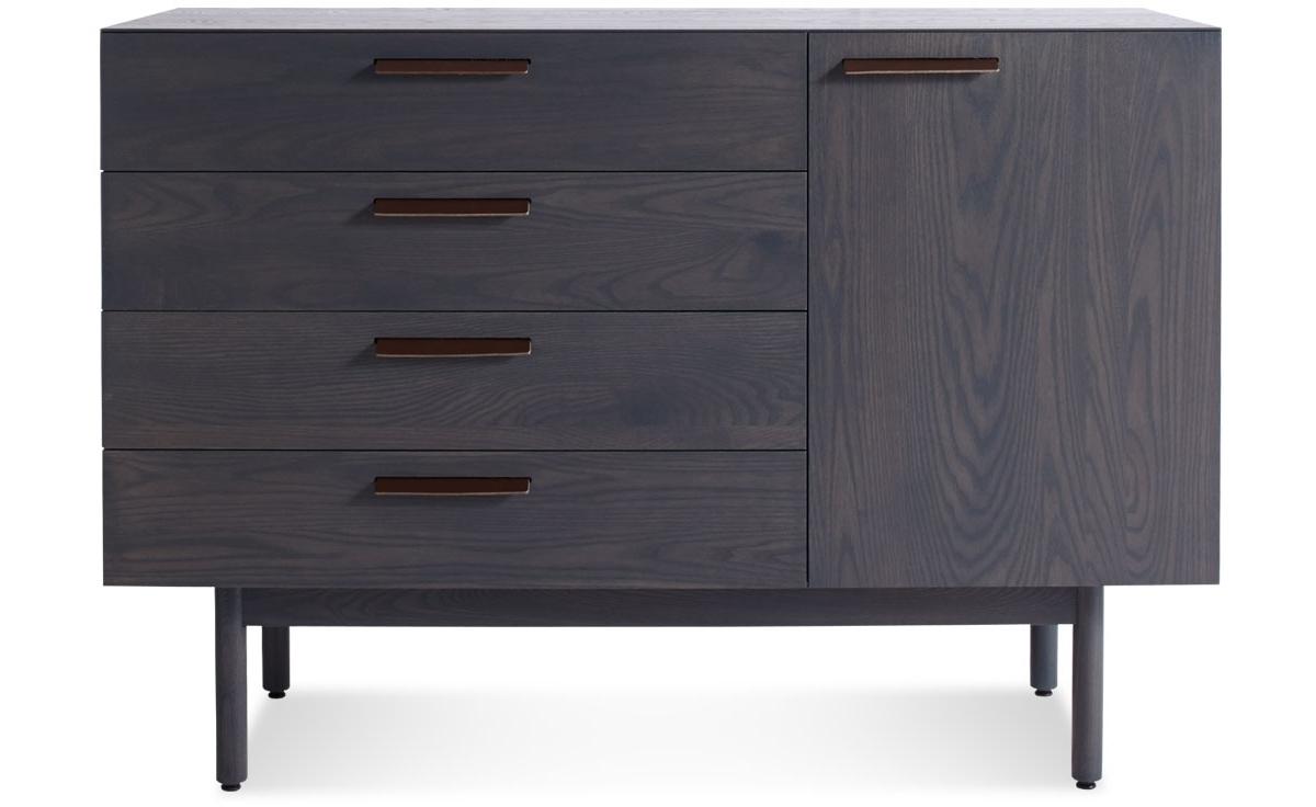 Shale 4 Drawer / 1 Door Credenza – Hivemodern With Most Popular Girard 4 Door Sideboards (#14 of 20)