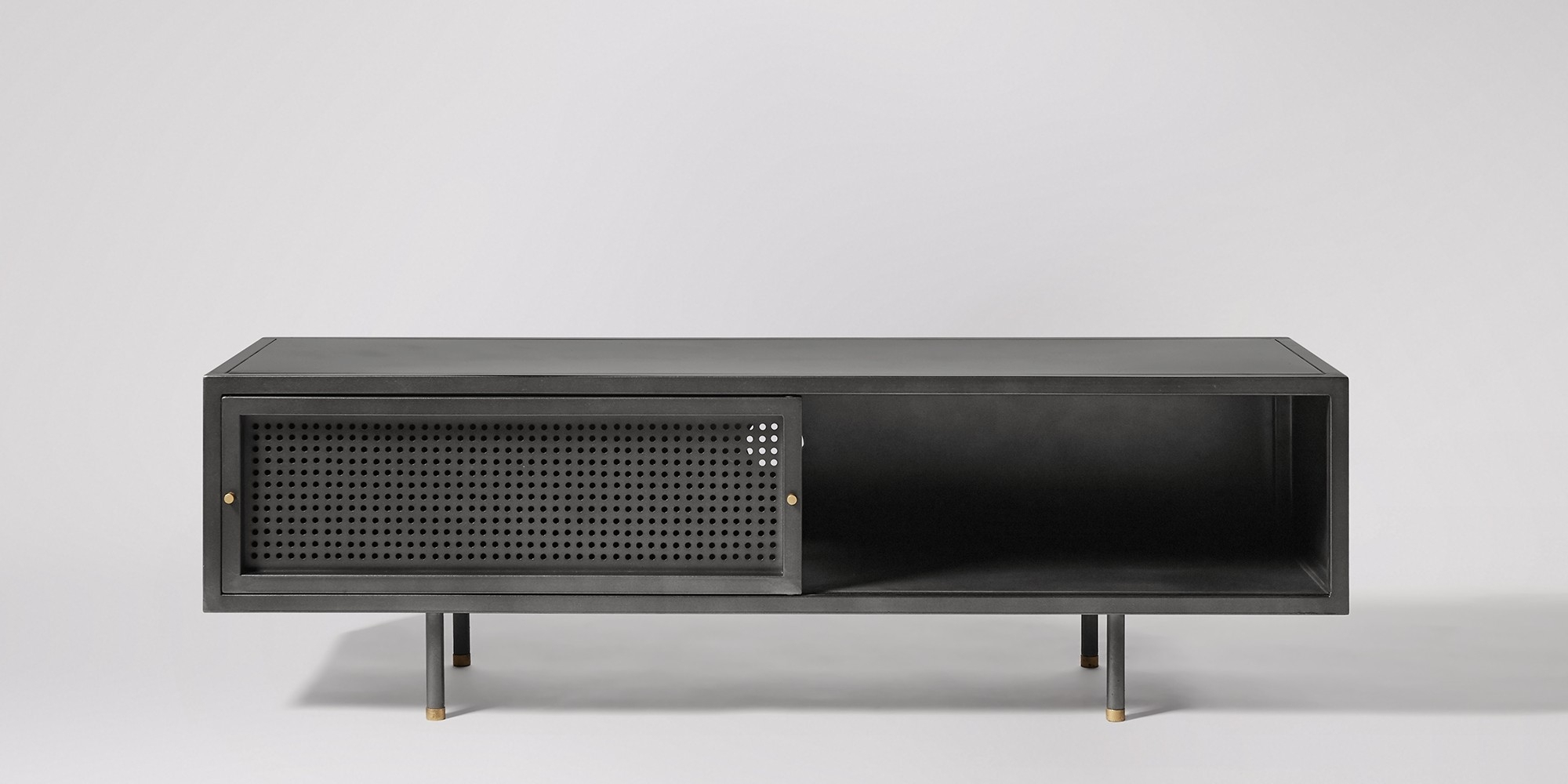 Sheffield Gunmetal & Brass Media Unit | Swoon Editions Pertaining To Most Recently Released Gunmetal Perforated Brass Sideboards (#19 of 20)