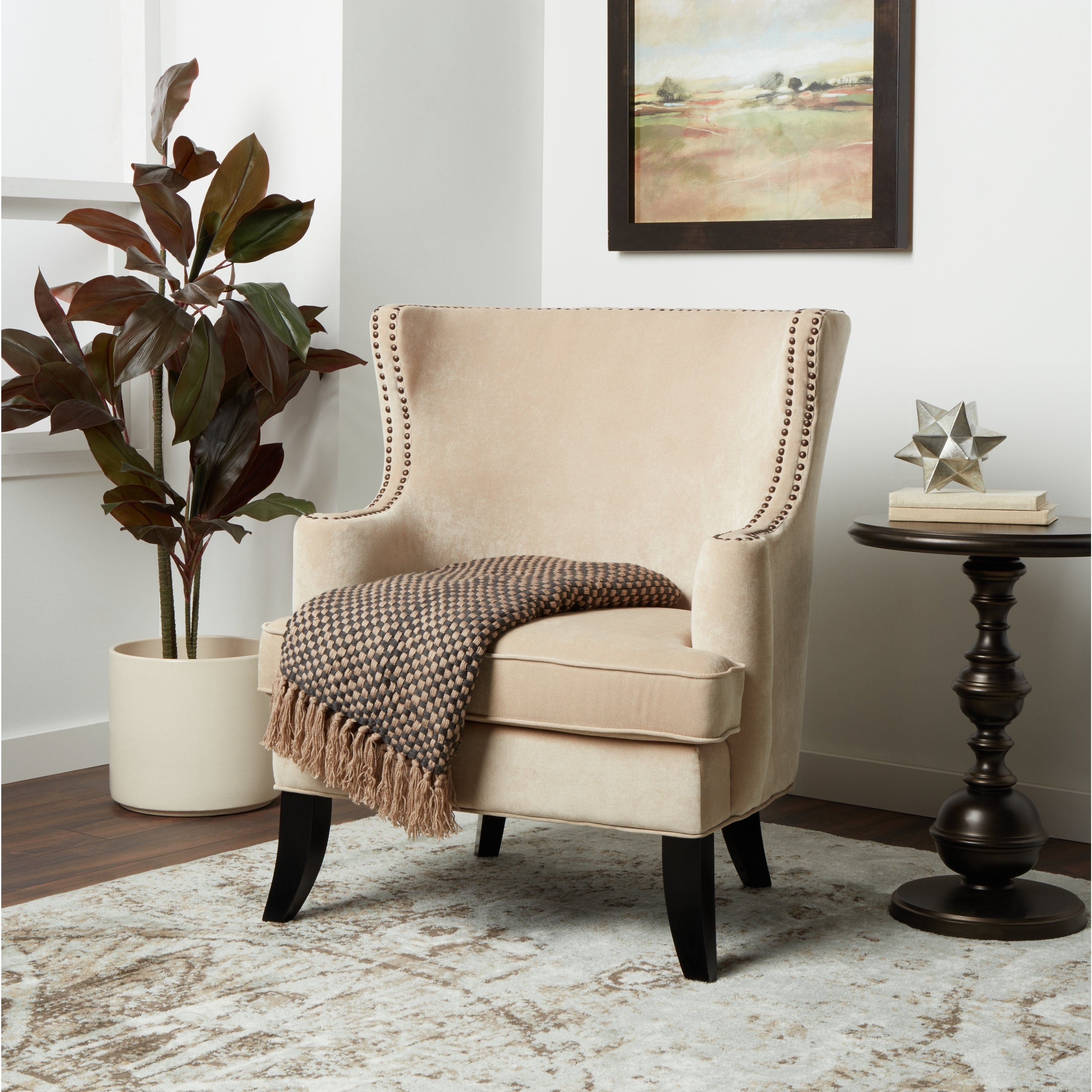 Shop Abbyson Lauren Beige Velvet Nailhead Armchair – On Sale – Free Regarding Most Current Laurent Upholstered Side Chairs (#18 of 20)