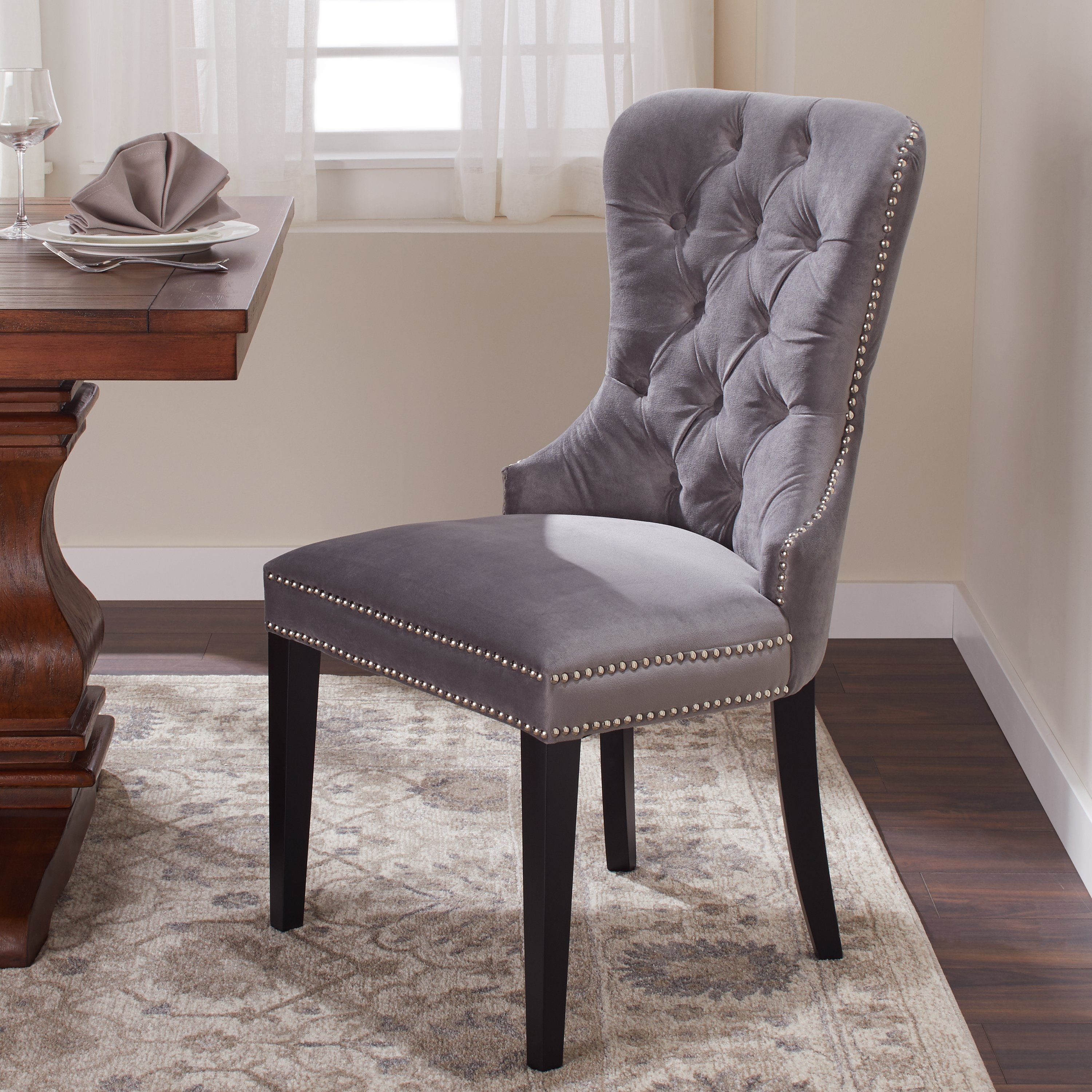 Shop Abbyson Versailles Grey Tufted Dining Chair – On Sale – Free Regarding Well Liked Pilo Grey Side Chairs (View 3 of 20)