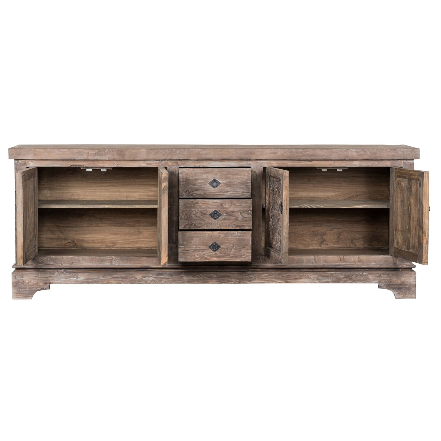 Shop Allen Rustic Taupe Reclaimed Pine 106 Inch Sideboardkosas Inside Recent Reclaimed Pine & Iron 4 Door Sideboards (View 7 of 20)