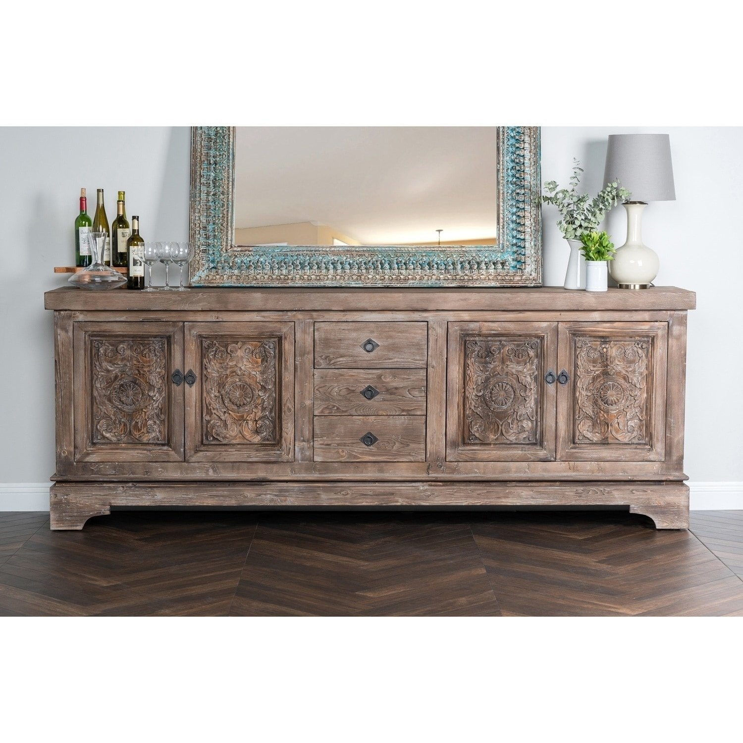Shop Allen Rustic Taupe Reclaimed Pine 106 Inch Sideboardkosas With Regard To 2017 Reclaimed Pine & Iron 4 Door Sideboards (View 5 of 20)