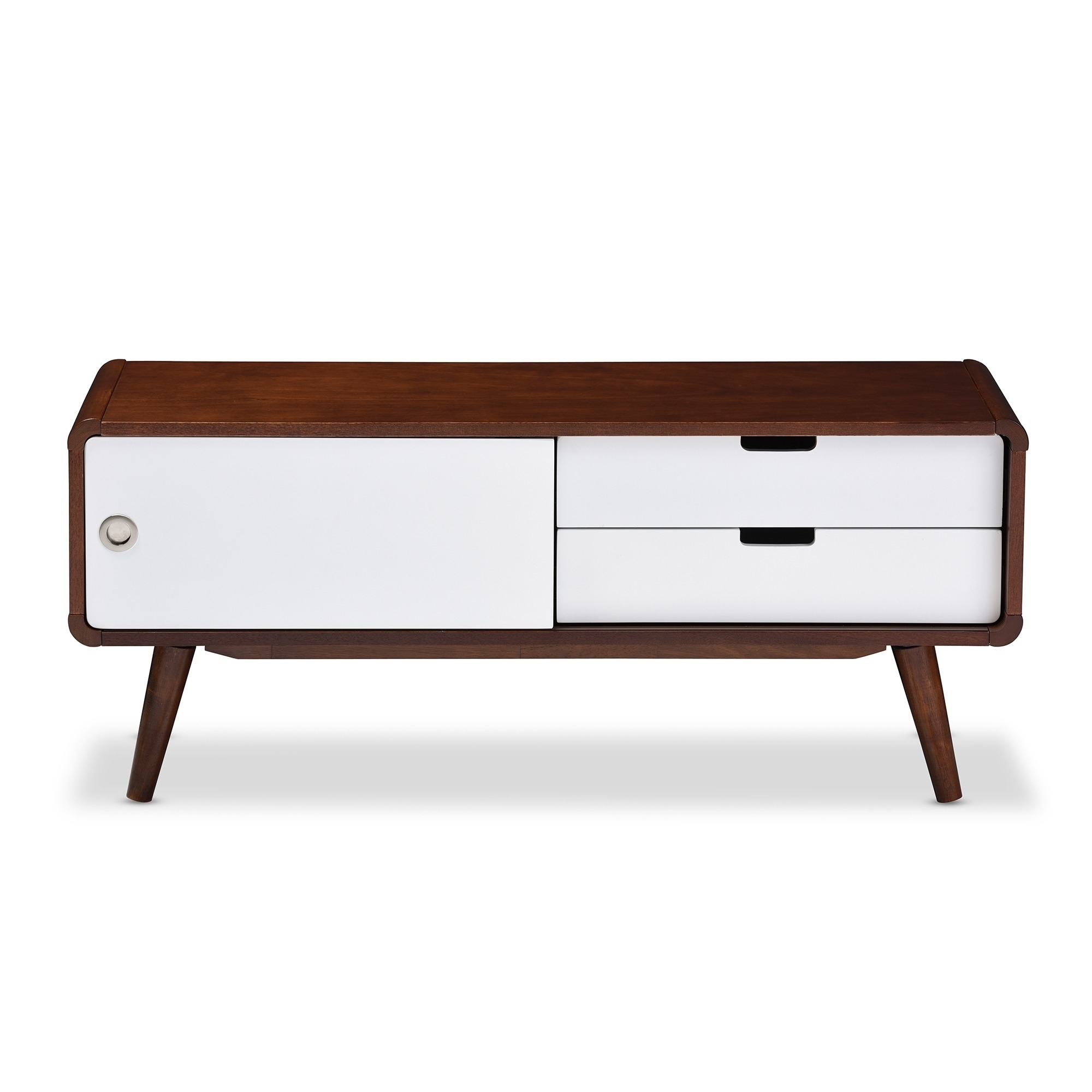Shop Baxton Studio Armani Mid Century Dark Walnut And White Tv Stand With Regard To Most Recent Mid Burnt Oak 71 Inch Sideboards (View 20 of 20)