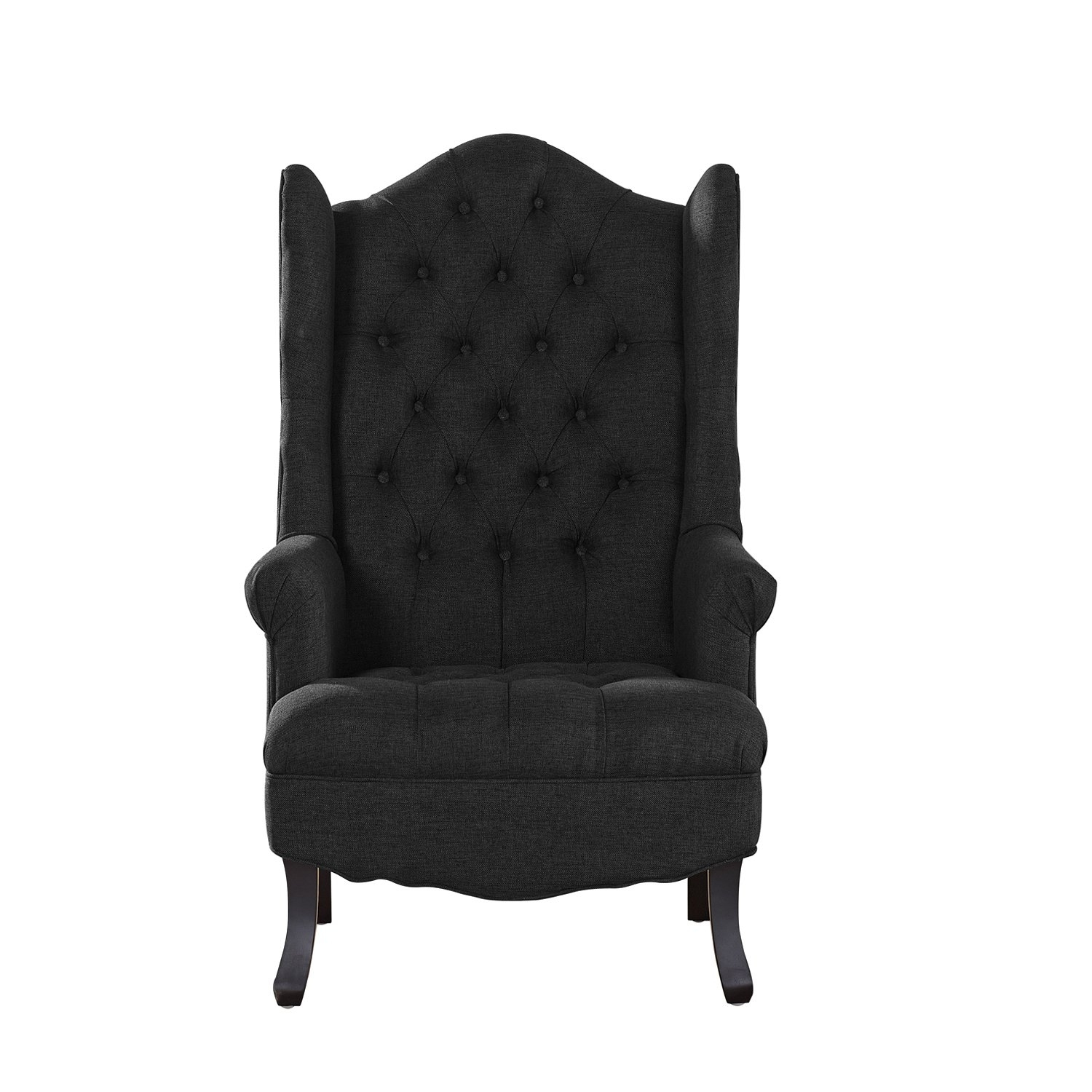 Shop Baxton Studio Norwood Grey Fabric Upholstered Wing Back Accent For Widely Used Norwood Upholstered Hostess Chairs (View 6 of 20)