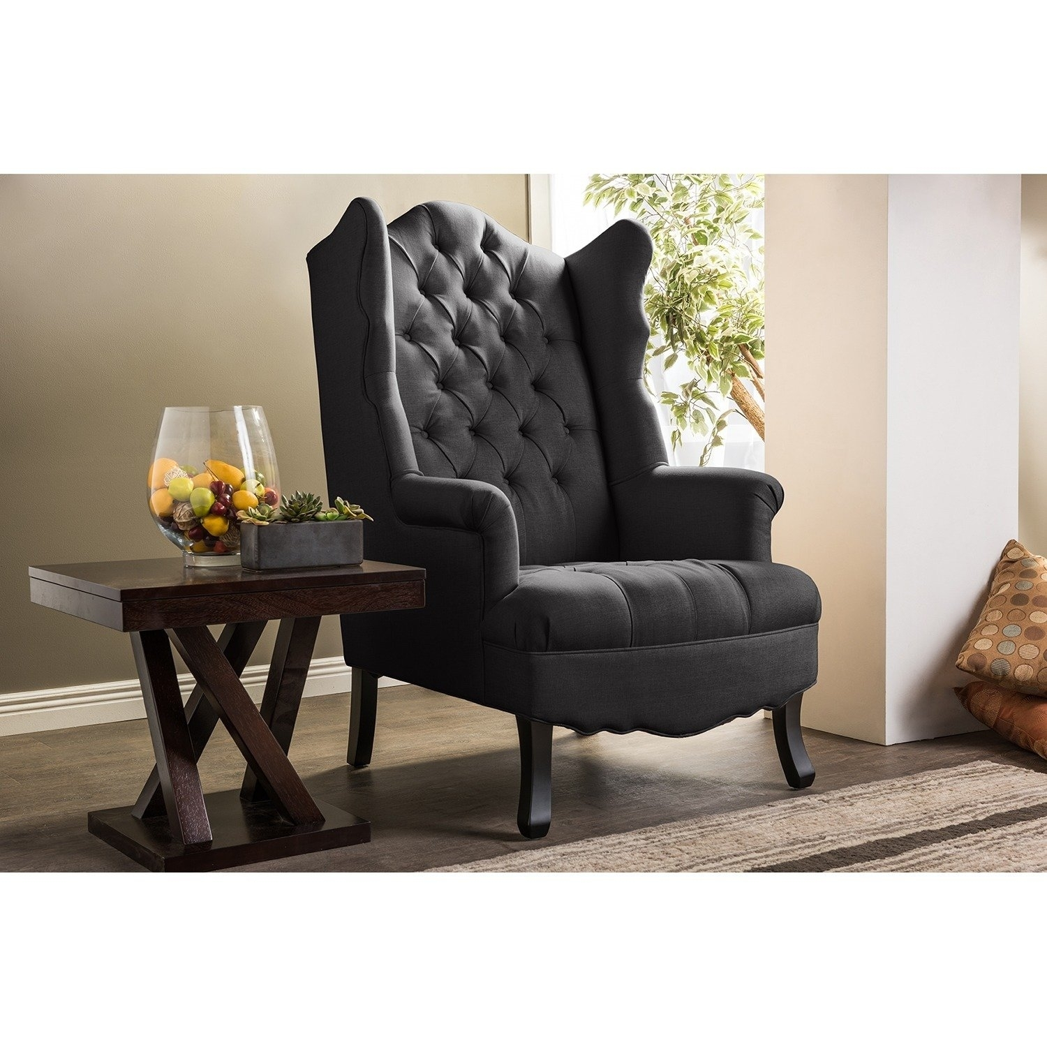 Shop Baxton Studio Norwood Grey Fabric Upholstered Wing Back Accent With Latest Norwood Upholstered Side Chairs (#18 of 20)
