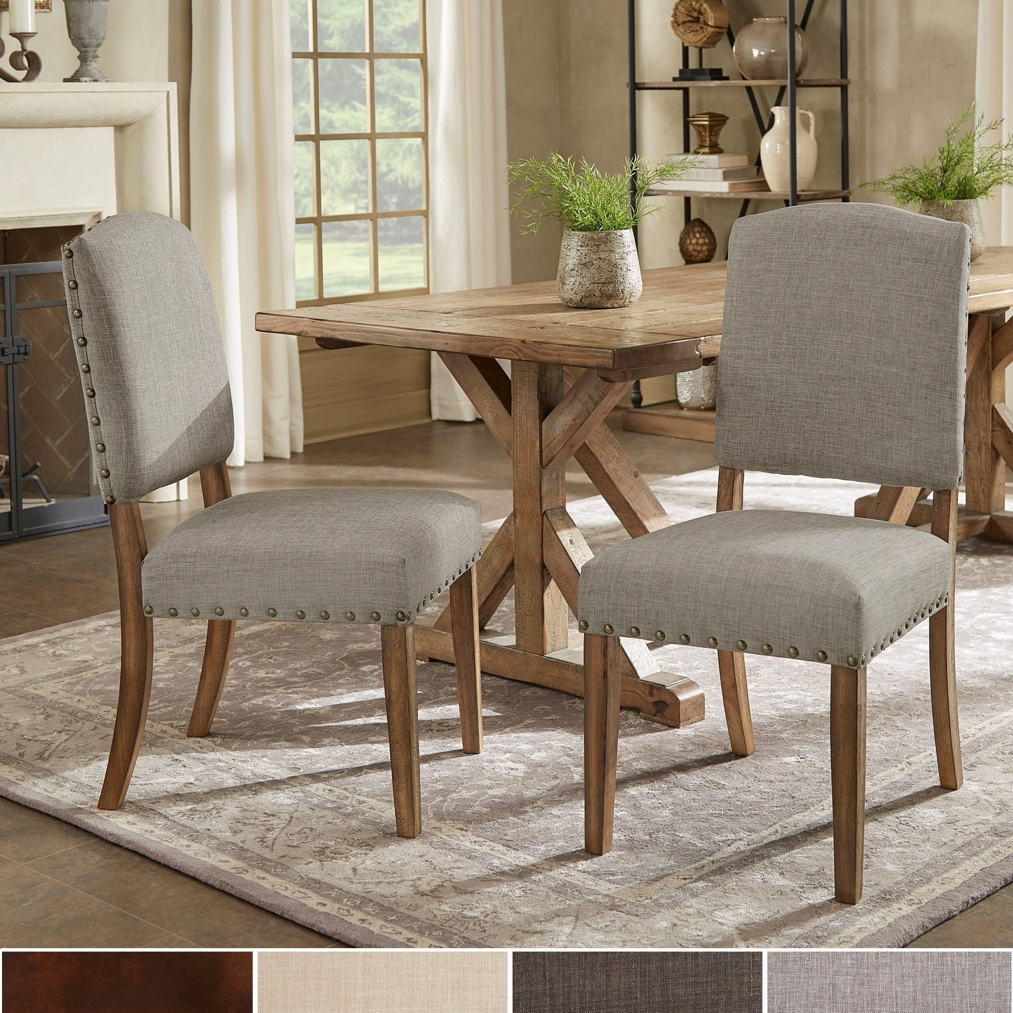 Shop Benchwright Premium Nailhead Upholstered Dining Chairs (Set Of For Most Current Candice Ii Upholstered Side Chairs (#14 of 20)