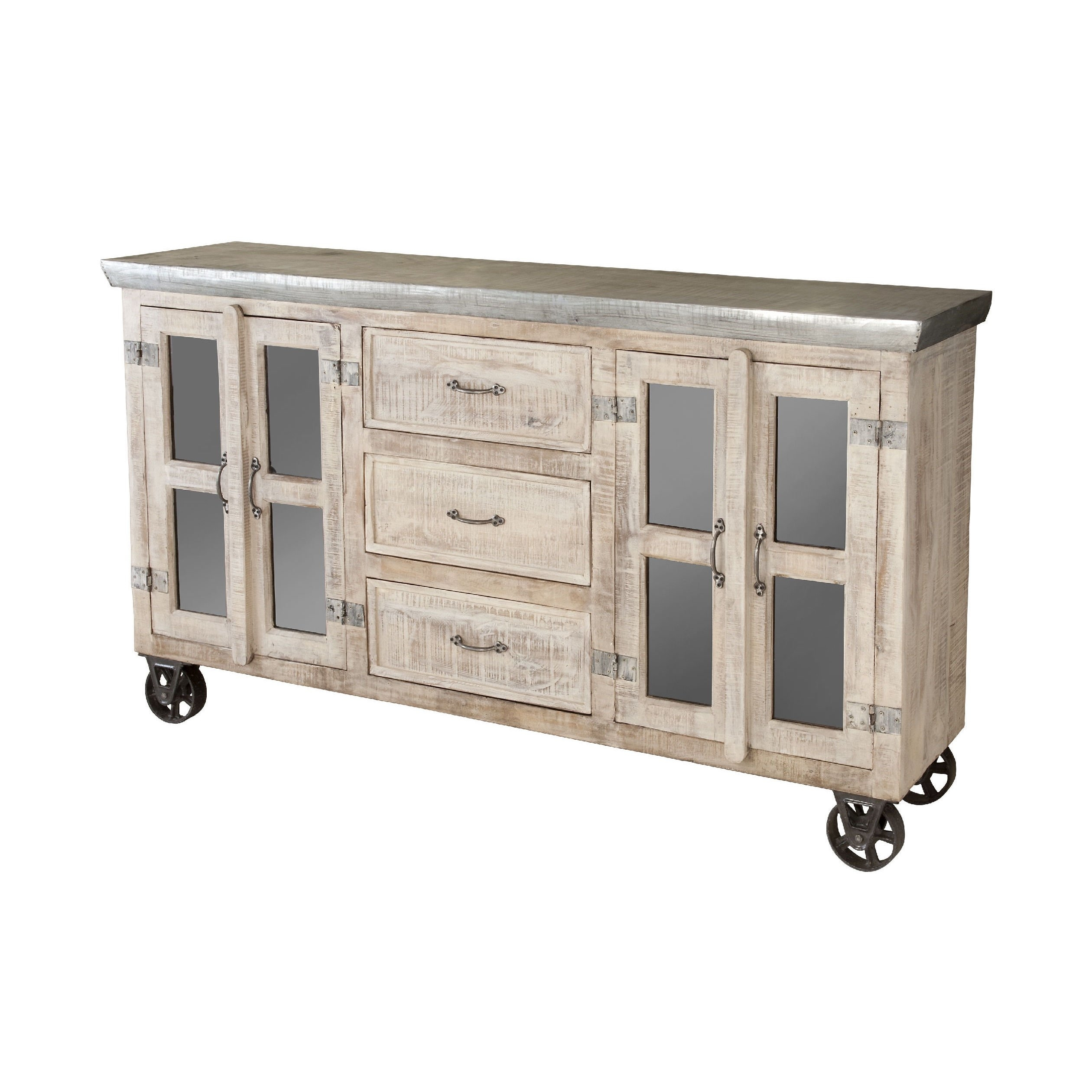 Shop Bertram Sideboard – Free Shipping Today – Overstock – 9121554 Within Newest White Wash 4 Door Galvanized Sideboards (View 5 of 20)