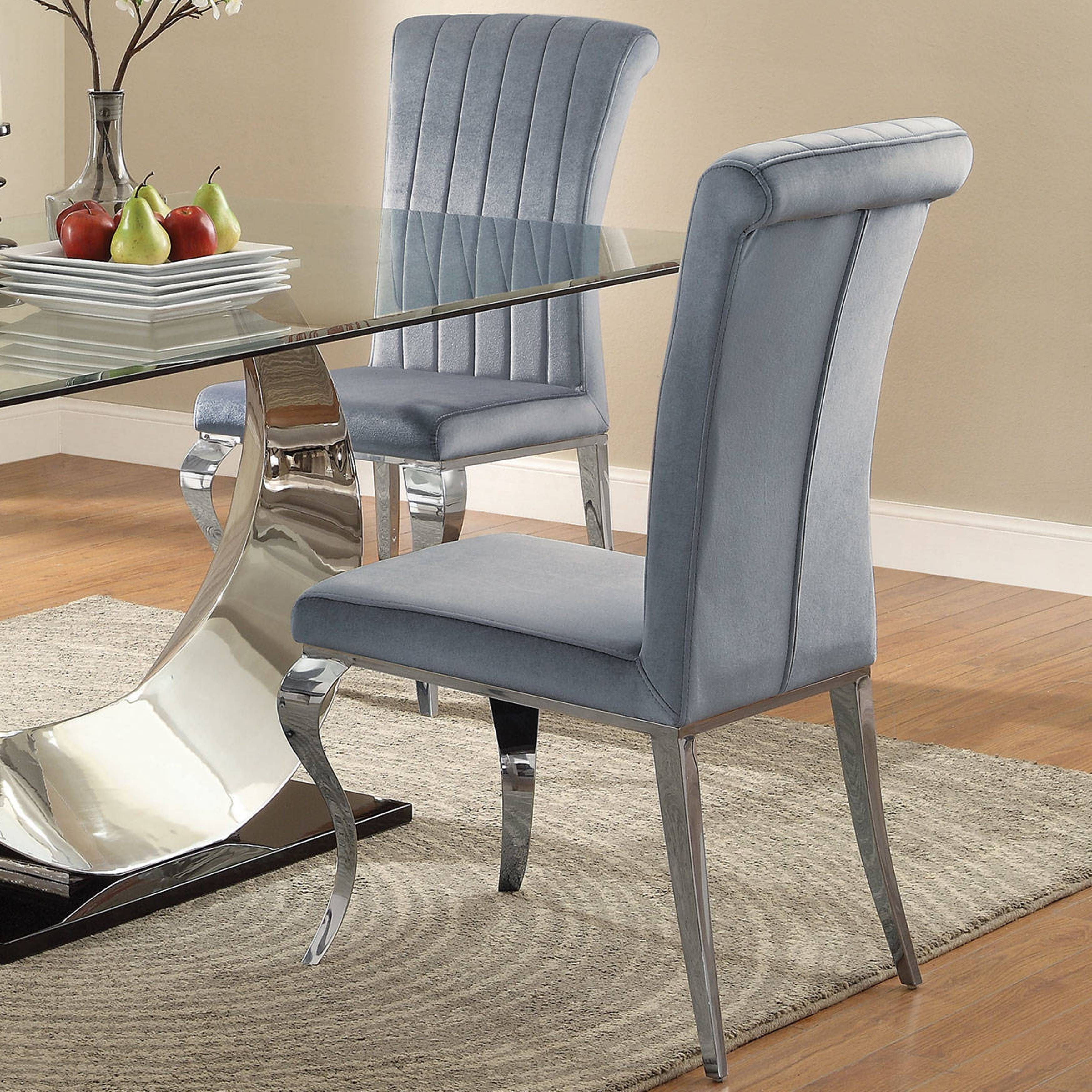 Shop Cabriole Design Stainless Steel With Grey /silver Velvet Dining In Recent Pilo Grey Side Chairs (View 15 of 20)