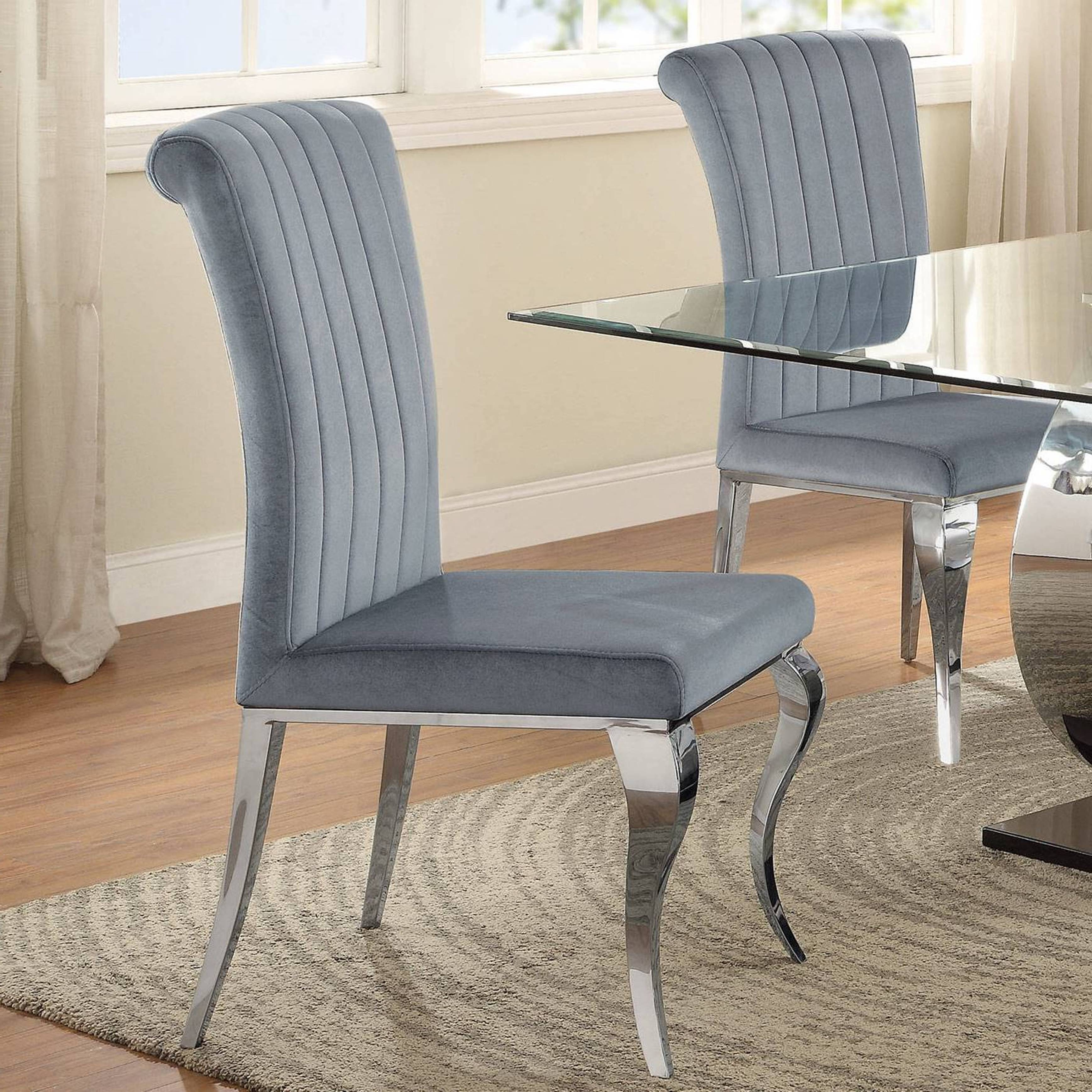 Shop Cabriole Design Stainless Steel With Grey /silver Velvet Dining Inside Well Known Pilo Grey Side Chairs (View 9 of 20)