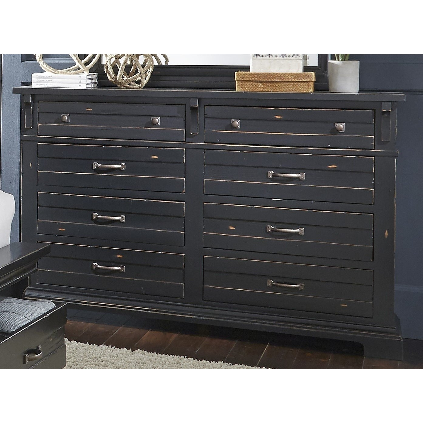 Shop Chestnut Hill Distressed Black Pine/ Veneer 8 Drawer Dresser Throughout 2017 Bale Rustic Grey Sideboards (#18 of 20)
