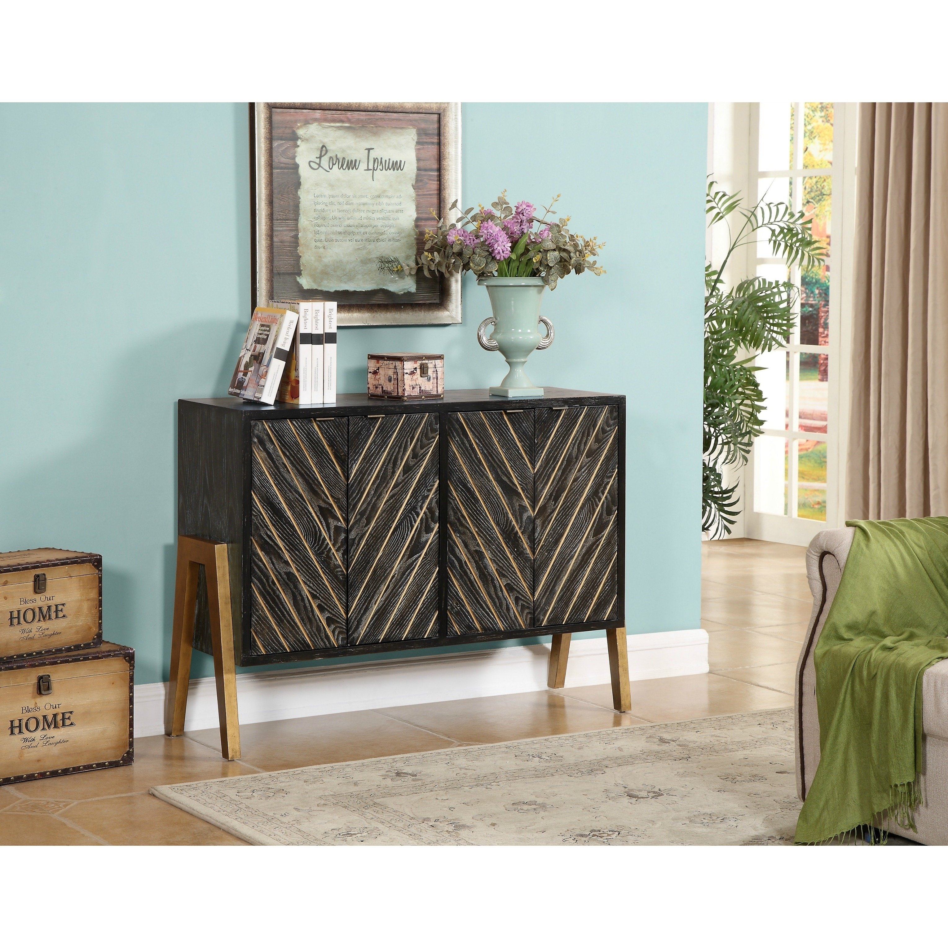 Shop Christopher Knight Home Black And Gold 4 Door Sideboard – Free Throughout Most Up To Date Brown Chevron 4 Door Sideboards (#14 of 20)