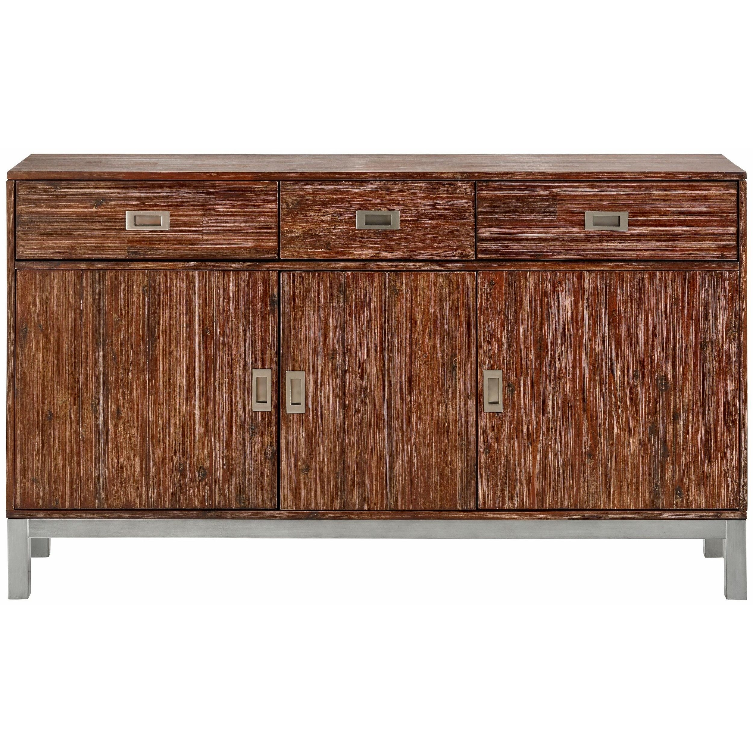 Shop Congo Acacia Wood And Metal Sideboard With 3 Doors And 3 With Most Popular Acacia Wood 4 Door Sideboards (#9 of 20)