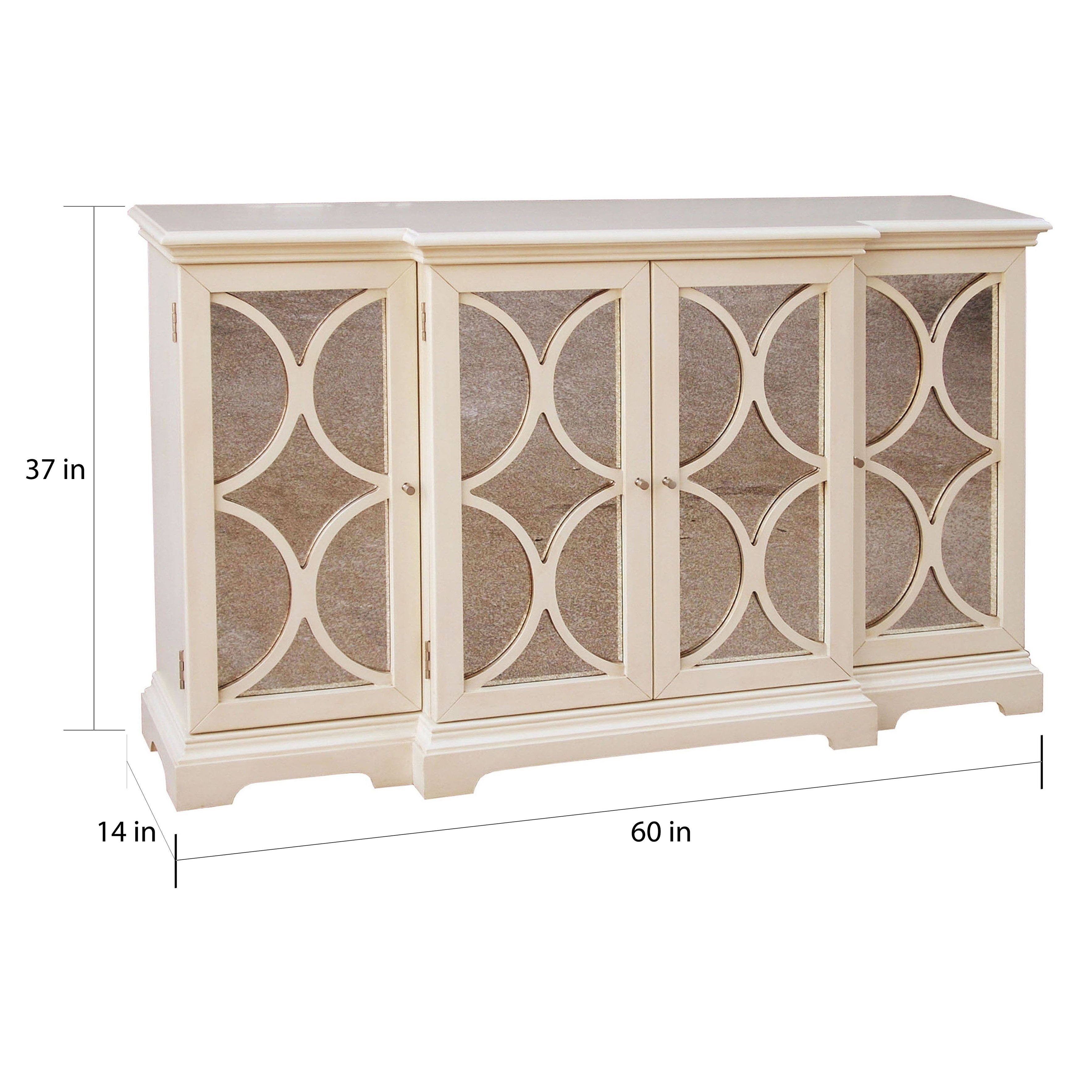 Shop Cream Finish Antiqued Mirror Accent Chest/ Credenza – Multi Within Current Aged Mirrored 4 Door Sideboards (#18 of 20)